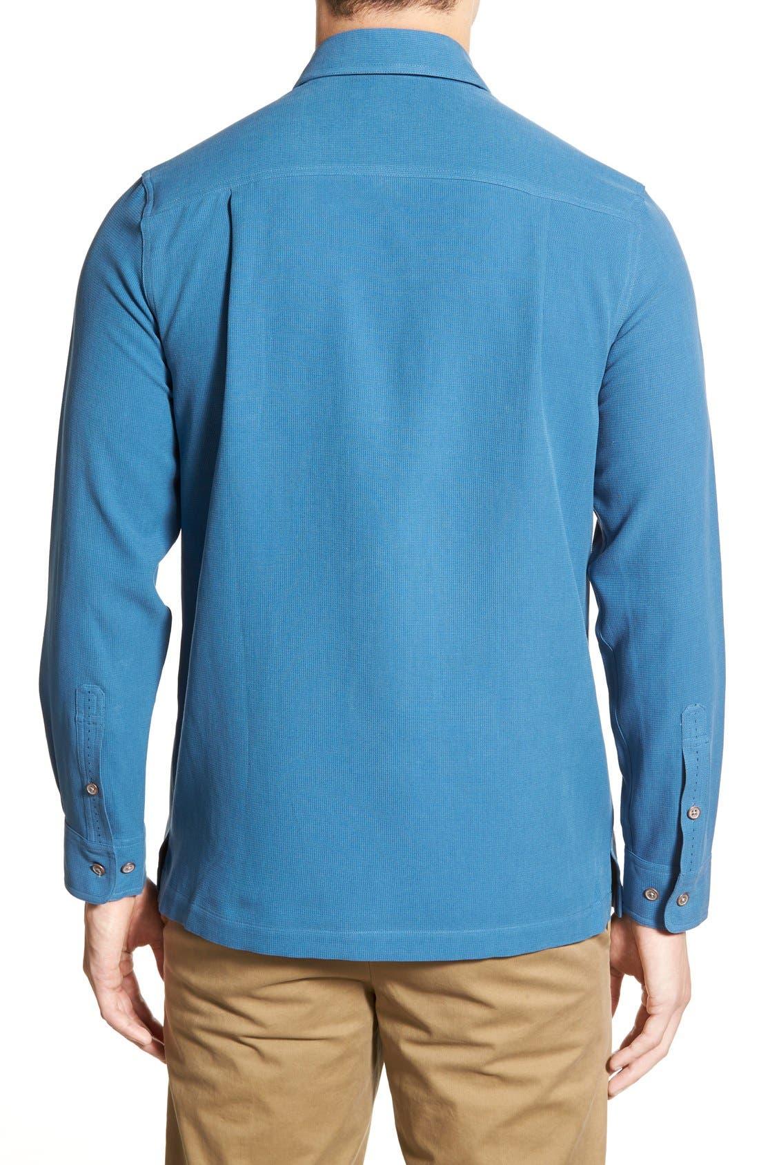 'Weber' Regular Fit Long Sleeve Silk & Cotton Sport Shirt,                             Alternate thumbnail 6, color,                             433