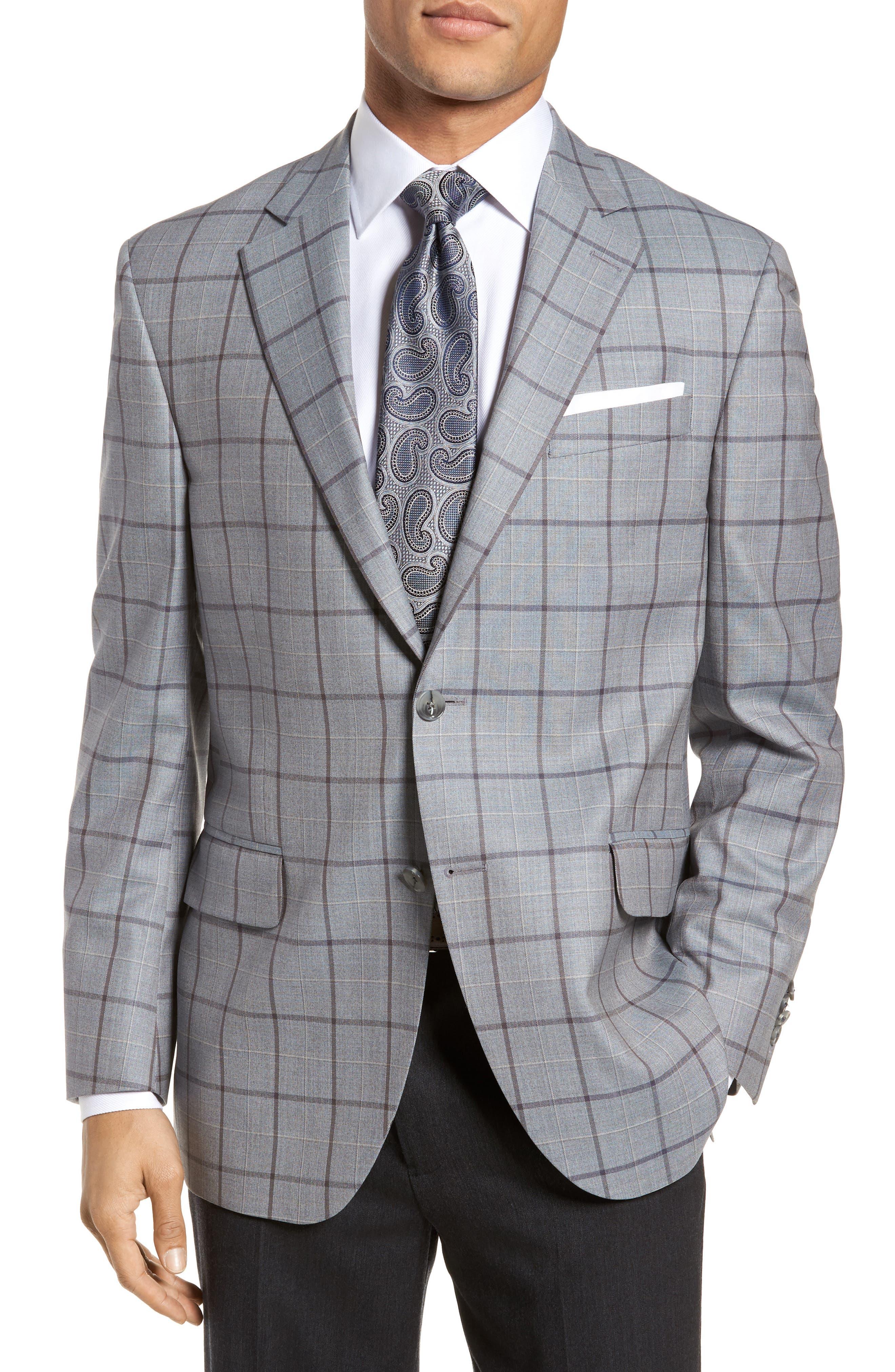 Classic Fit Windowpane Wool Sport Coat,                         Main,                         color, 020