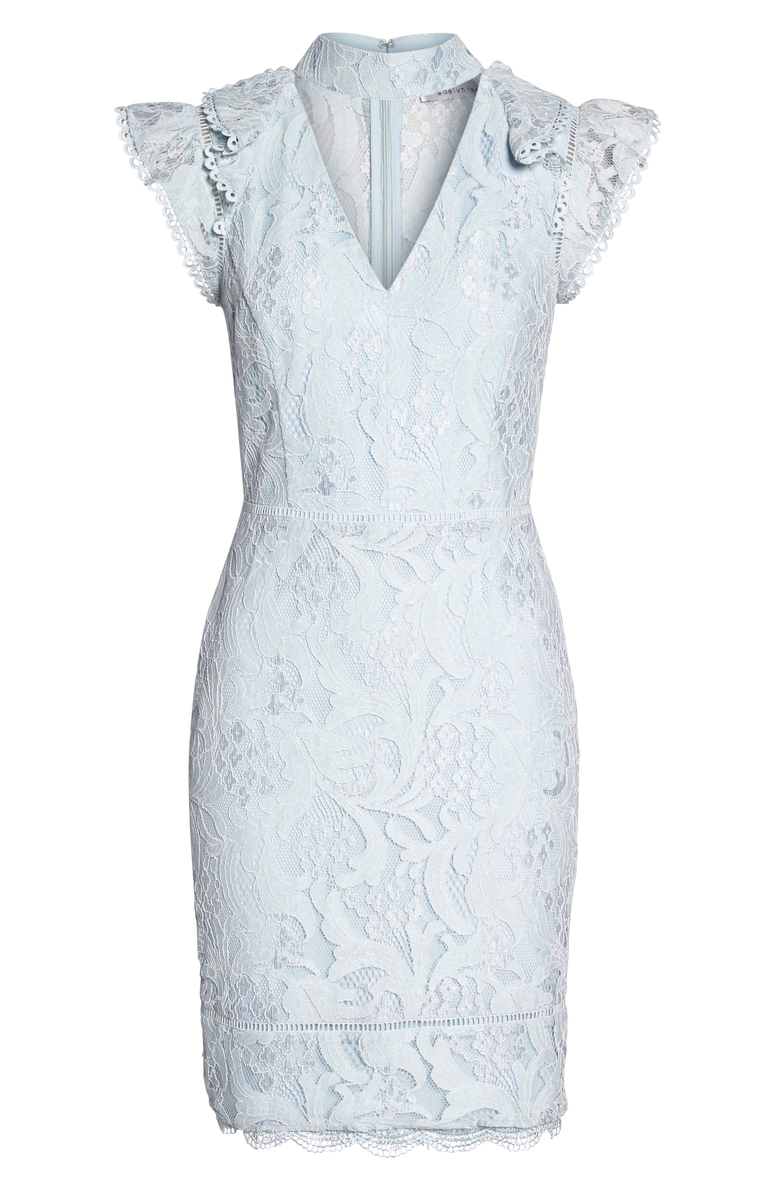 Delilah Lace Sheath Dress,                             Alternate thumbnail 13, color,