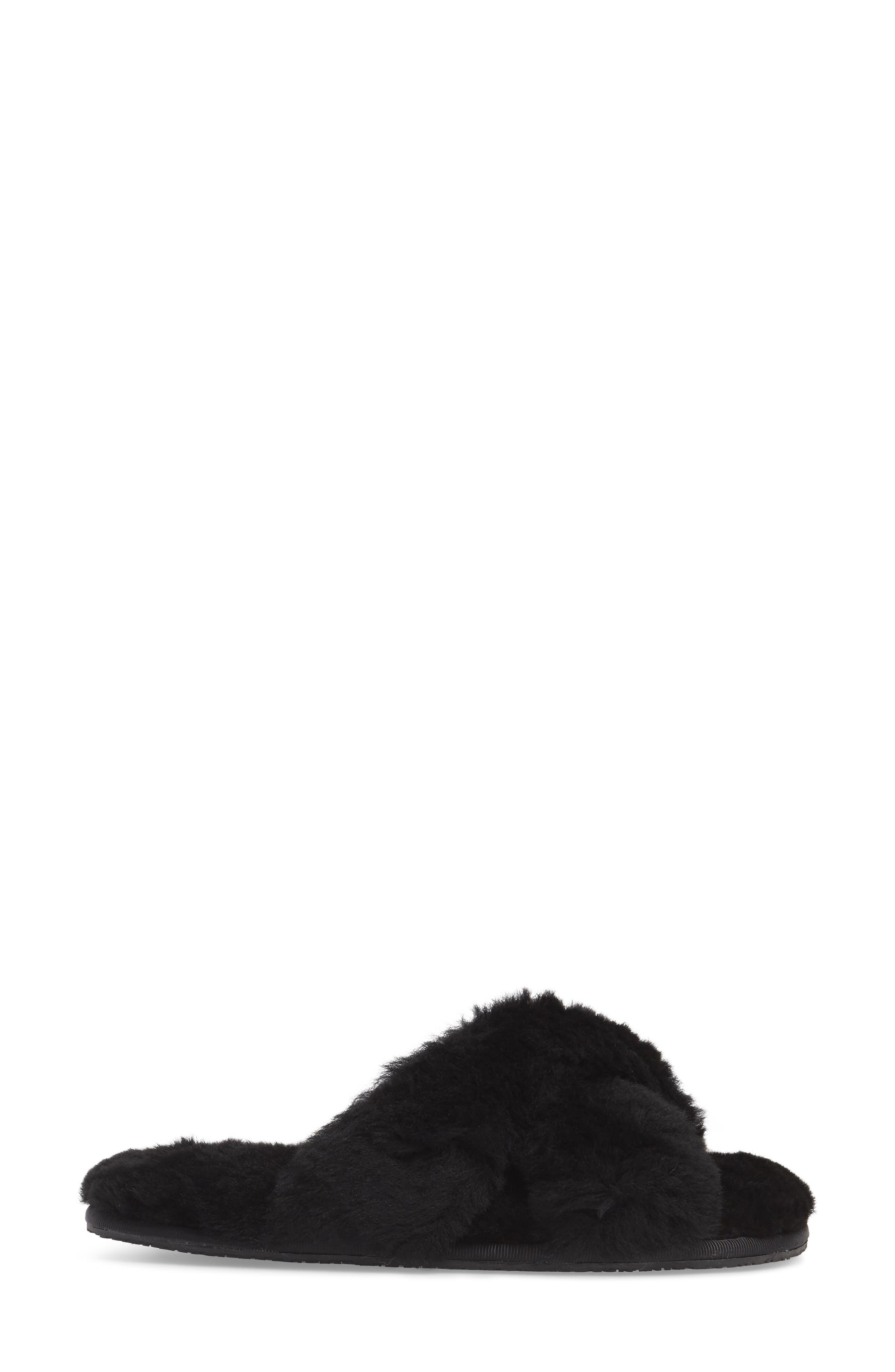 Mt. Hood Genuine Shearling Slipper,                             Alternate thumbnail 3, color,                             BLACK