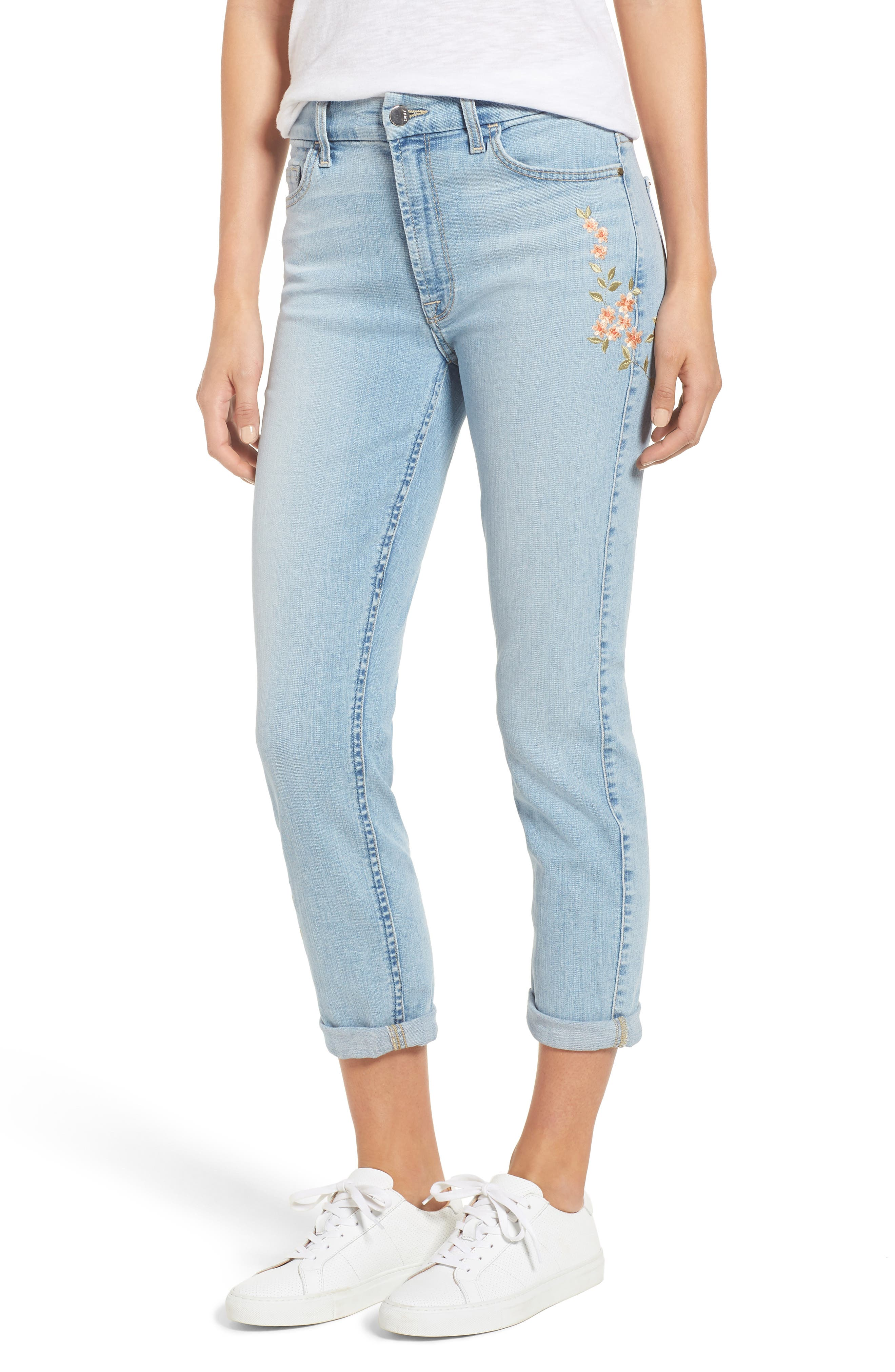 Embroidered Slim Boyfriend Jeans,                             Main thumbnail 1, color,                             RICHE TOUCH PLAYA VISTA