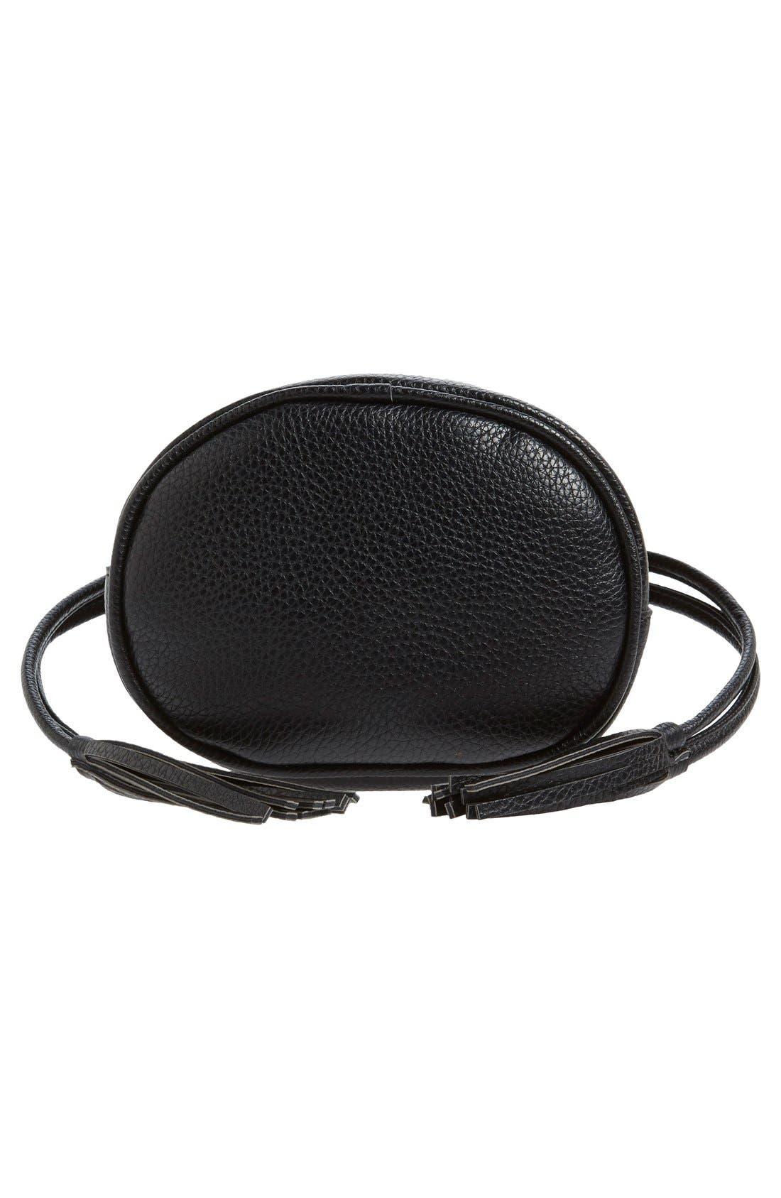 Mini Faux Leather Tassel Bucket Bag,                             Alternate thumbnail 4, color,                             001