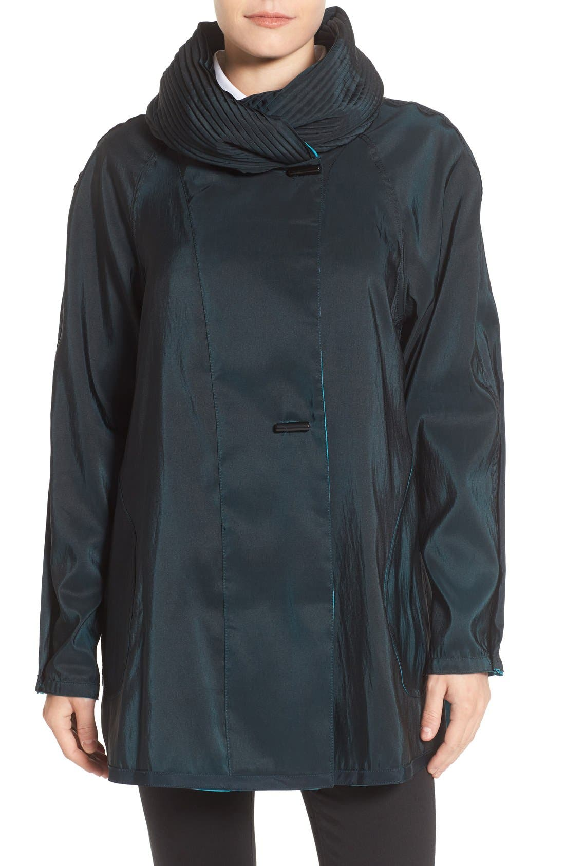 'Mini Donatella' Reversible Pleat Hood Packable Travel Coat,                             Alternate thumbnail 67, color,
