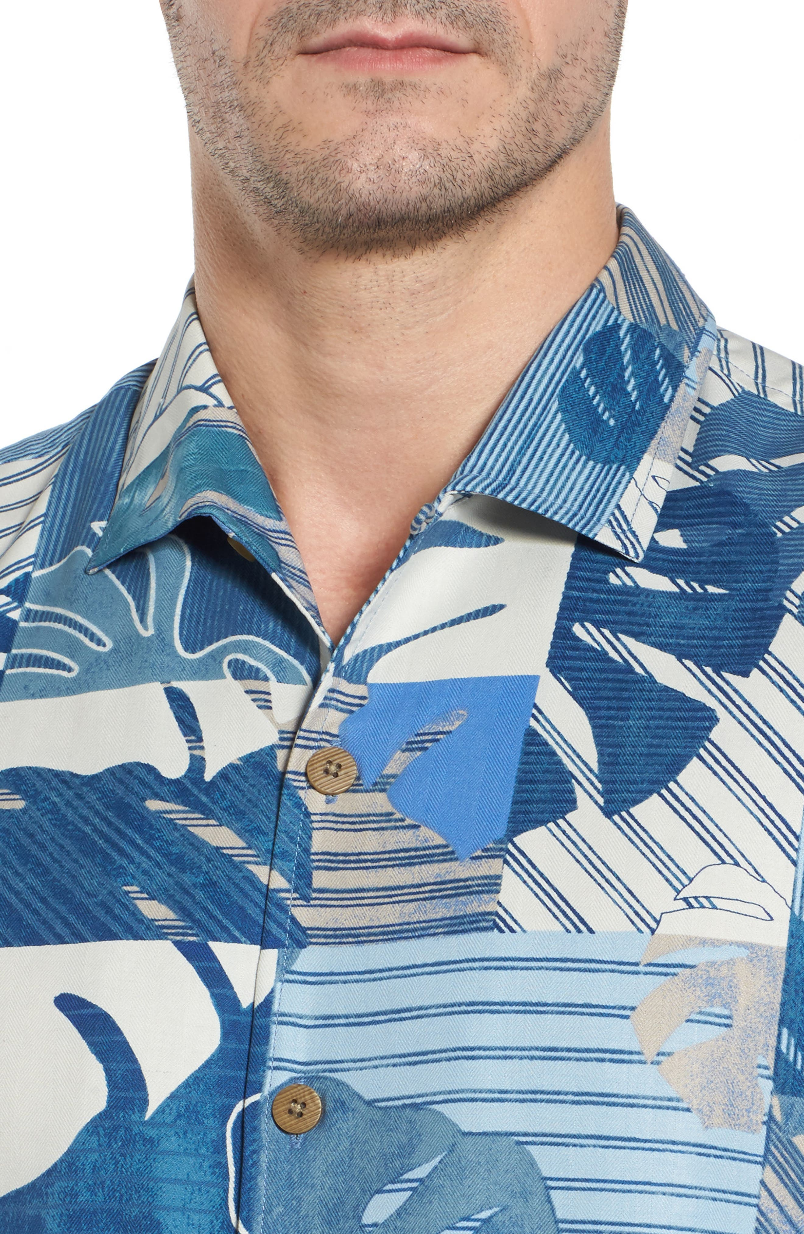 Totally Tiled Silk Camp Shirt,                             Alternate thumbnail 4, color,                             401