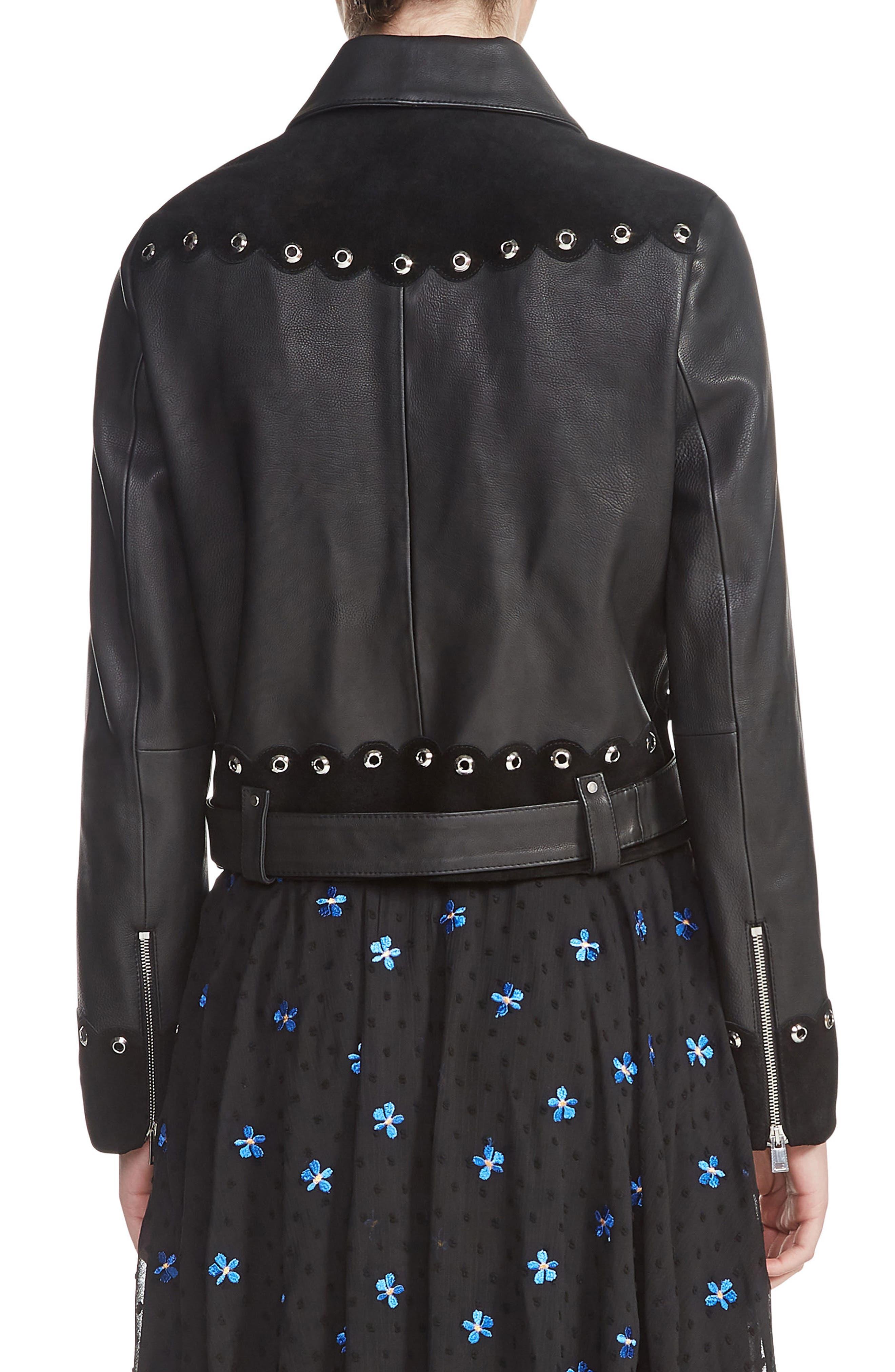 Embellished Leather Jacket,                             Alternate thumbnail 2, color,                             001
