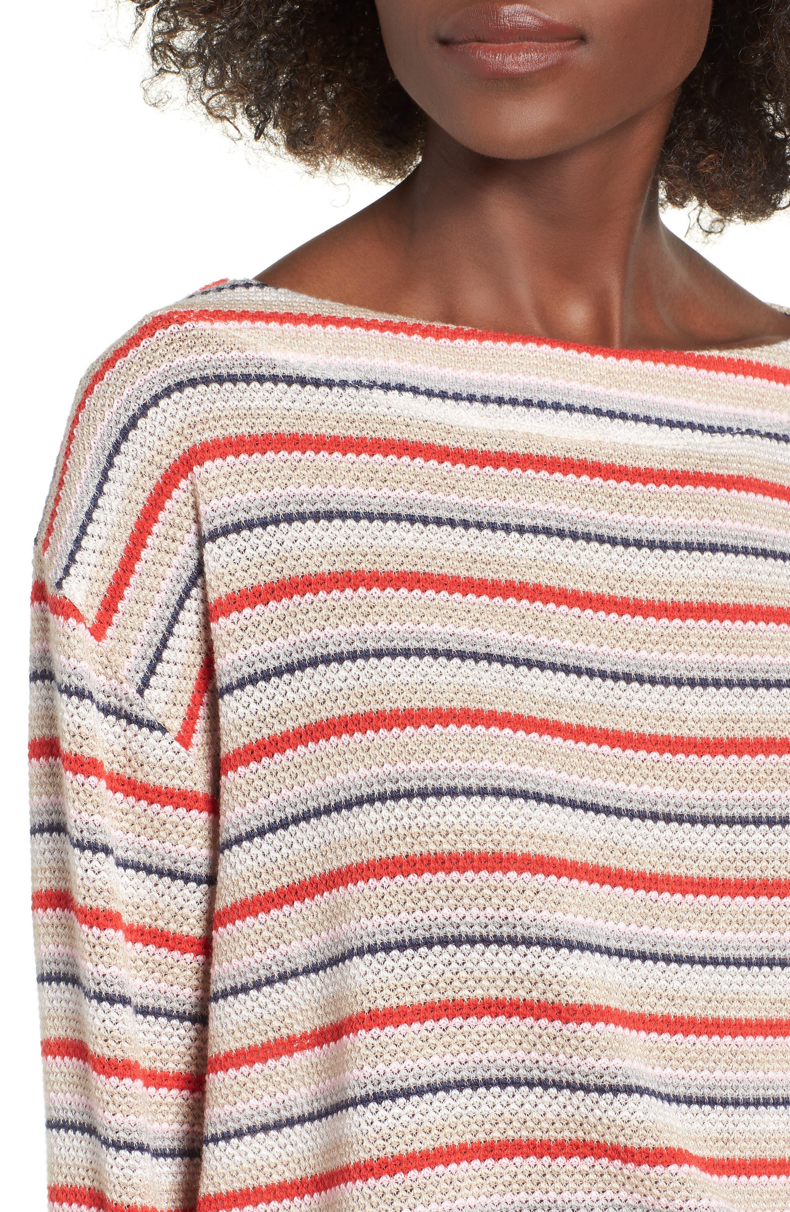 Stripe Knit Tee,                             Alternate thumbnail 4, color,                             RAINBOW