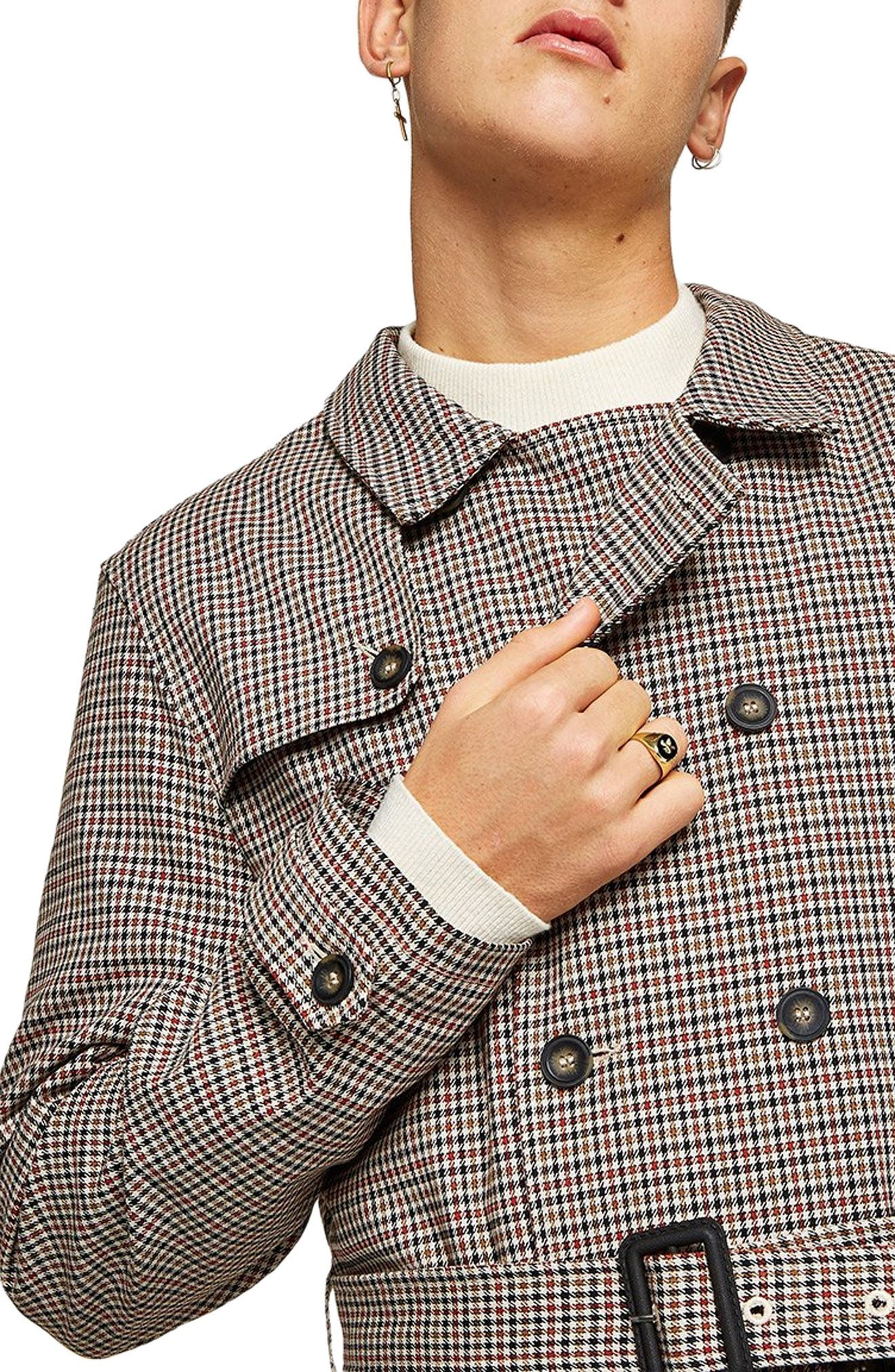 Houndstooth Trench Coat,                             Alternate thumbnail 4, color,                             BROWN MULTI