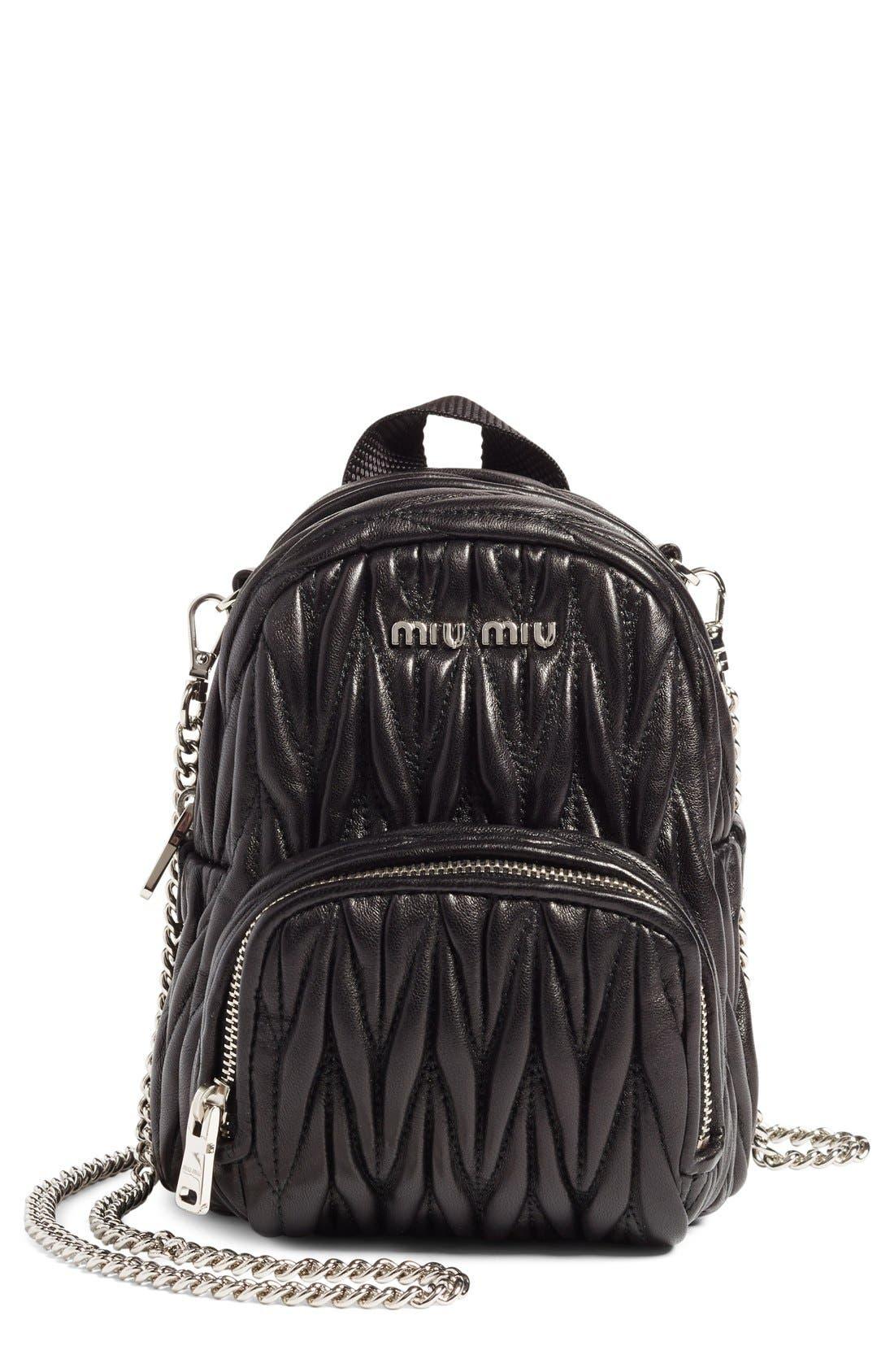 Micro Matelassé Leather Backpack,                         Main,                         color, 001
