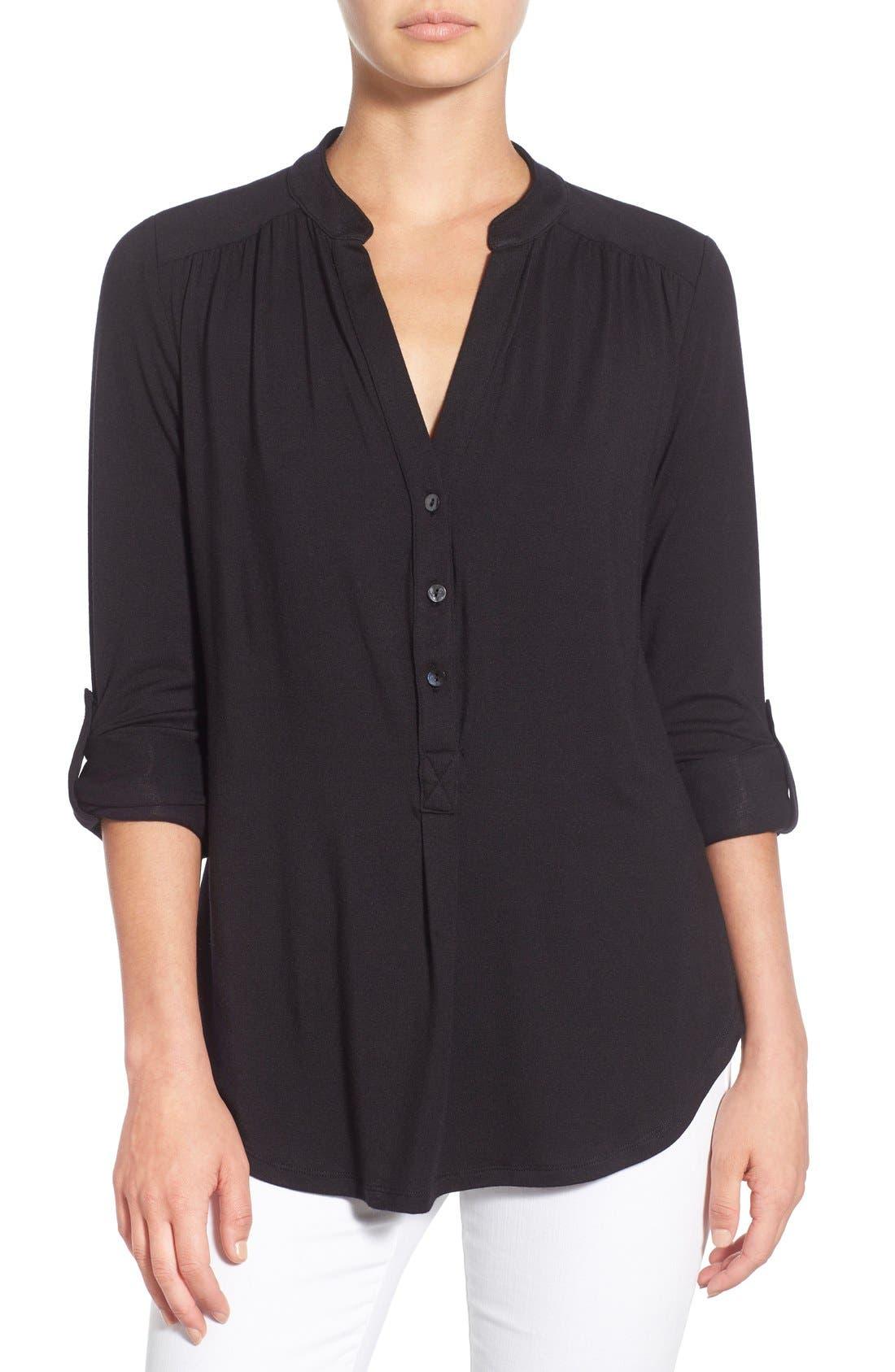 'Elena' Roll Tab Sleeve Top,                             Main thumbnail 1, color,                             BLACK