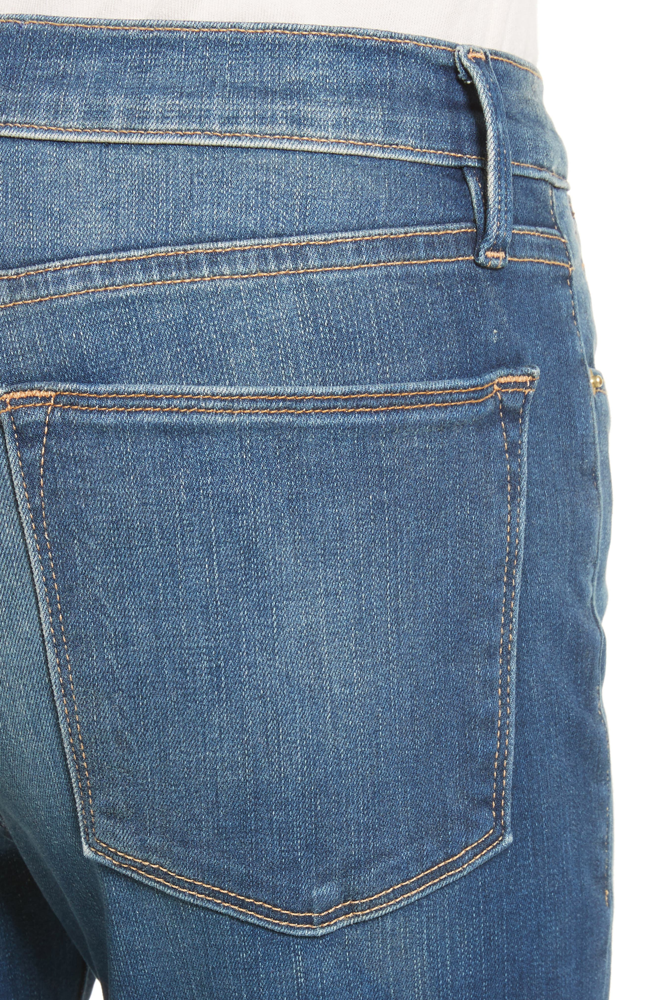 Le High Straight High Waist Raw Stagger Jeans,                             Alternate thumbnail 4, color,                             401