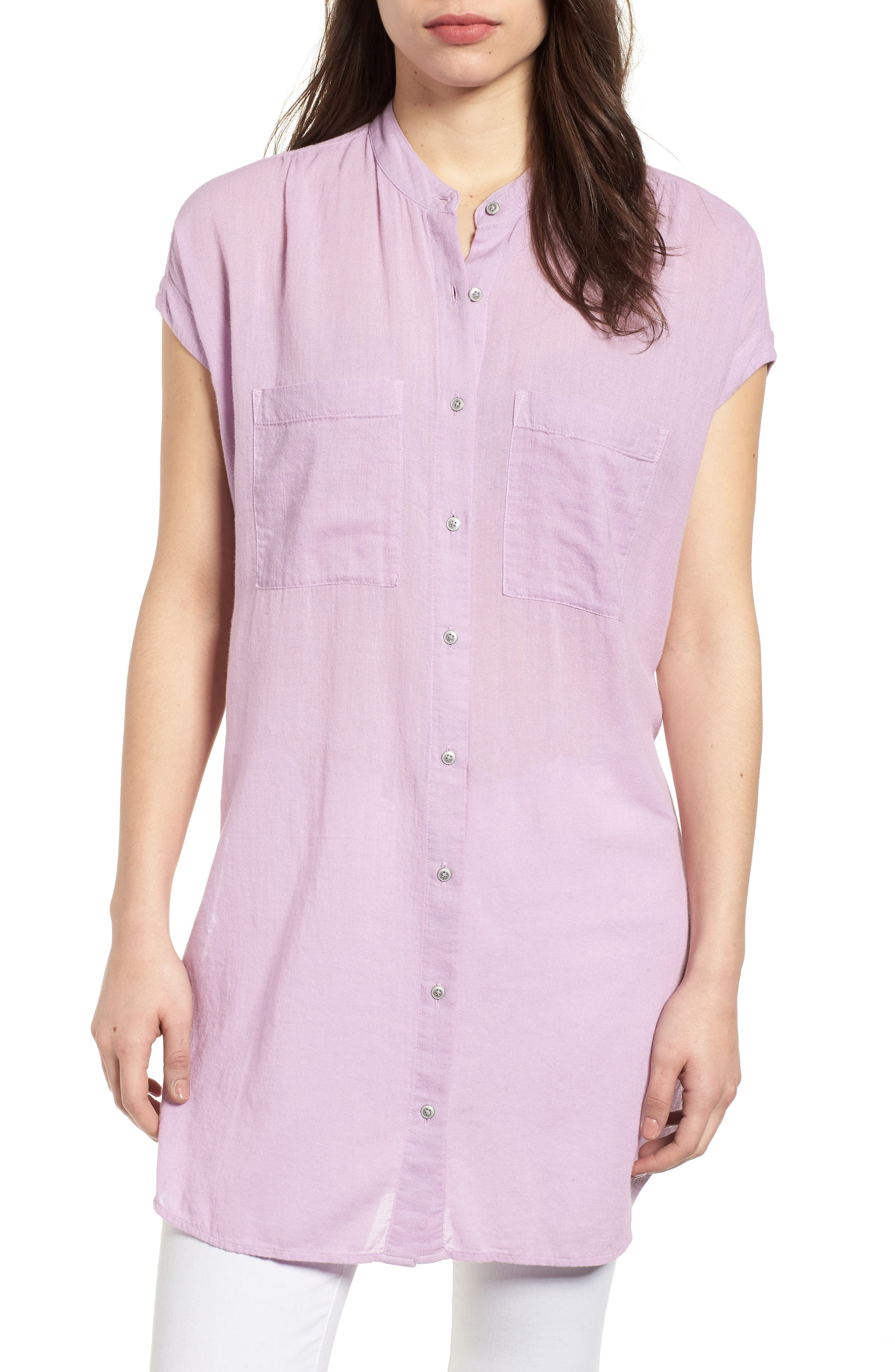 Button Front Longline Top,                             Main thumbnail 6, color,