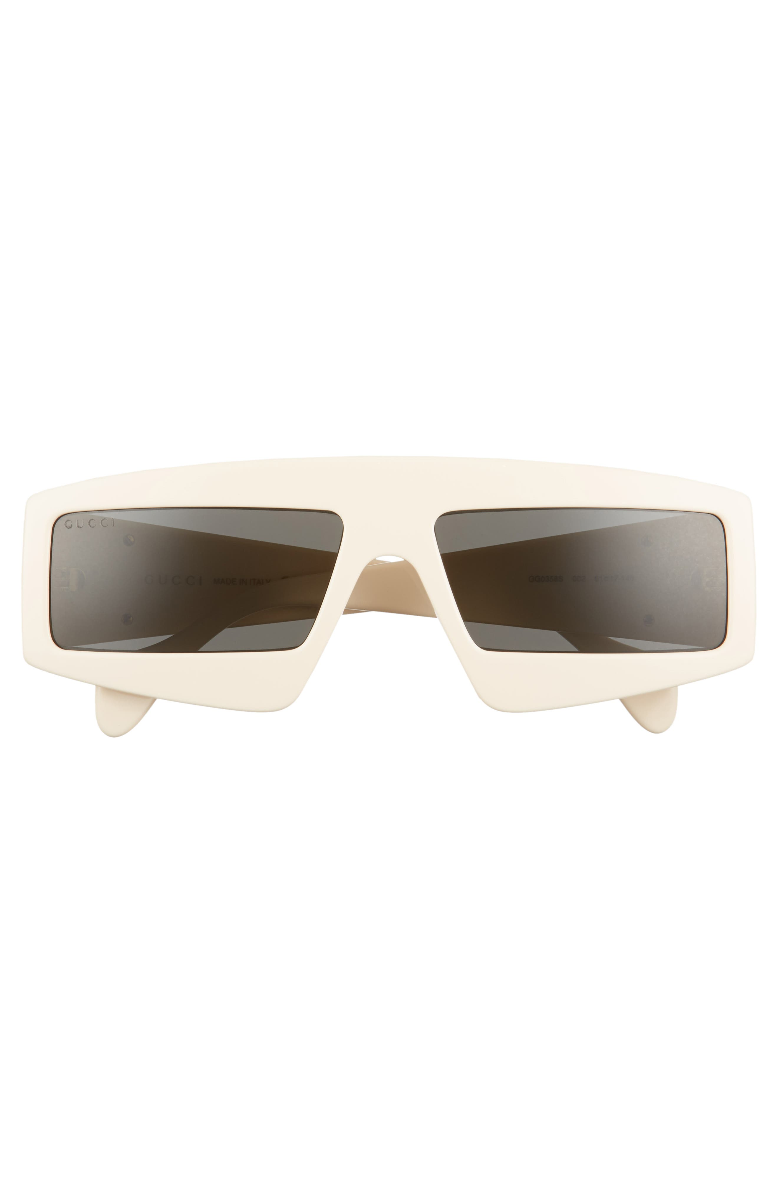 61mm Shield Sunglasses,                             Alternate thumbnail 3, color,                             IVORY