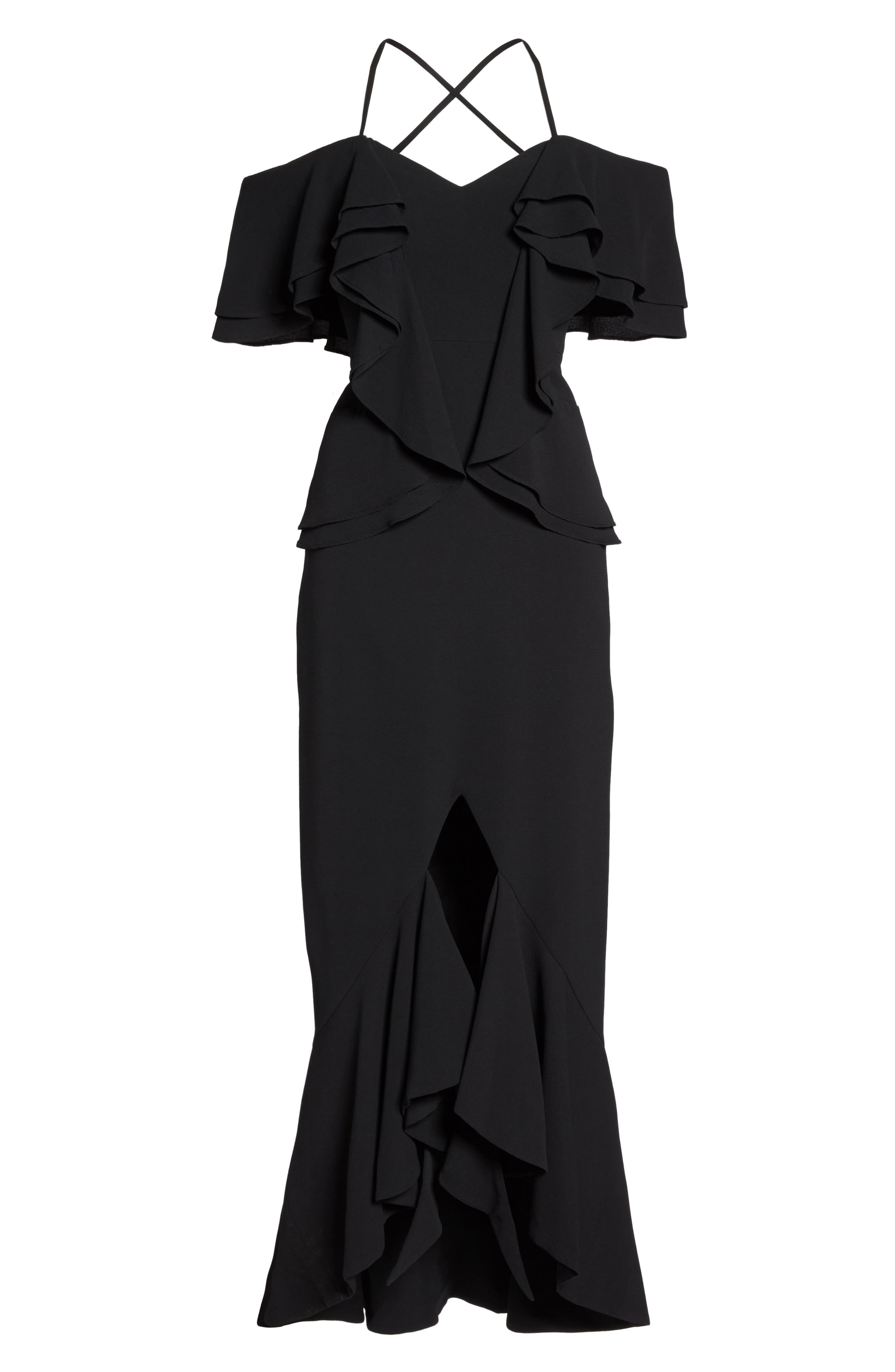 Covet Ruffle Off the Shoulder Gown,                             Alternate thumbnail 6, color,                             001