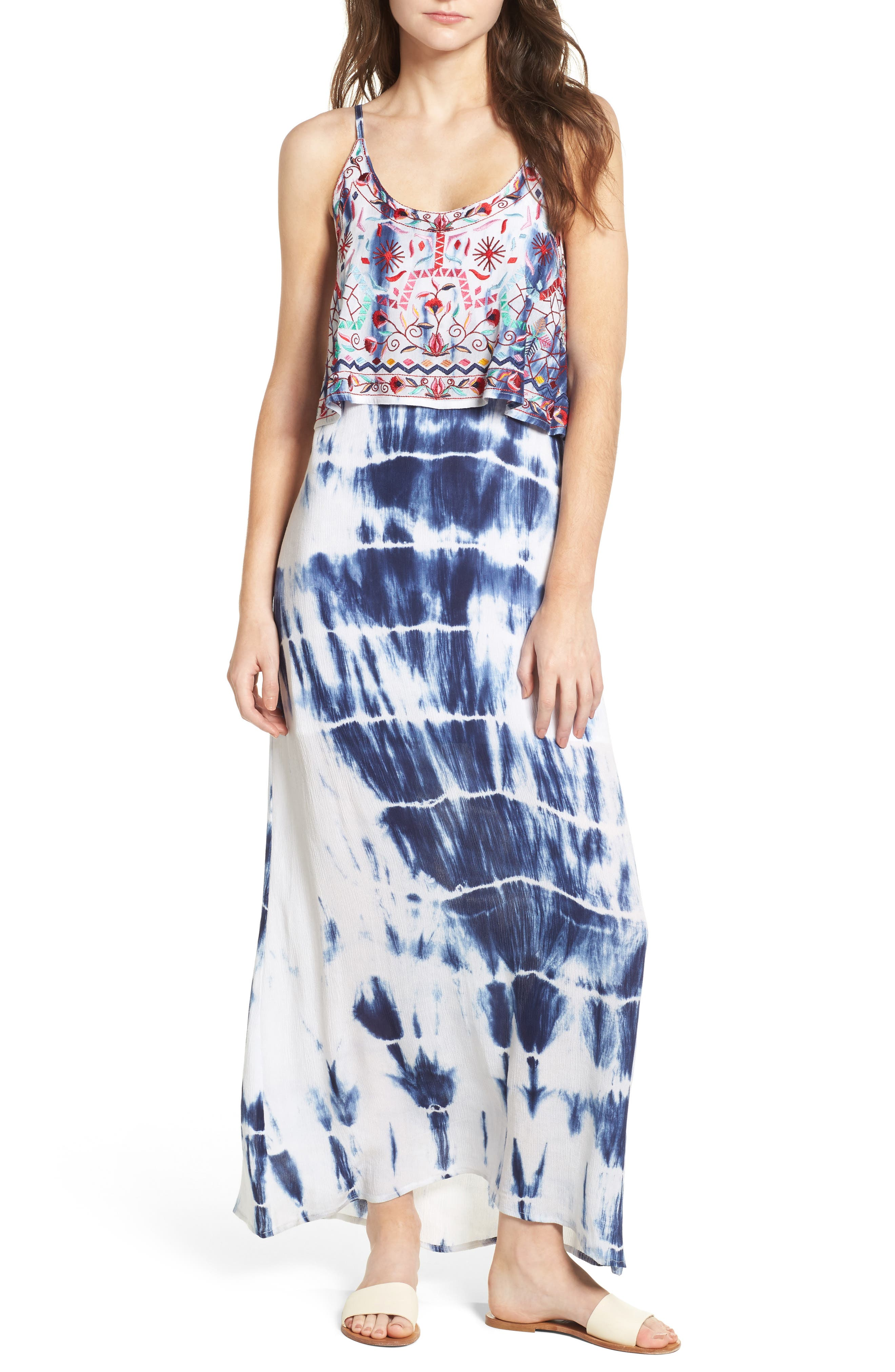 Mediterranean Embroidered Maxi Dress,                             Alternate thumbnail 5, color,                             100