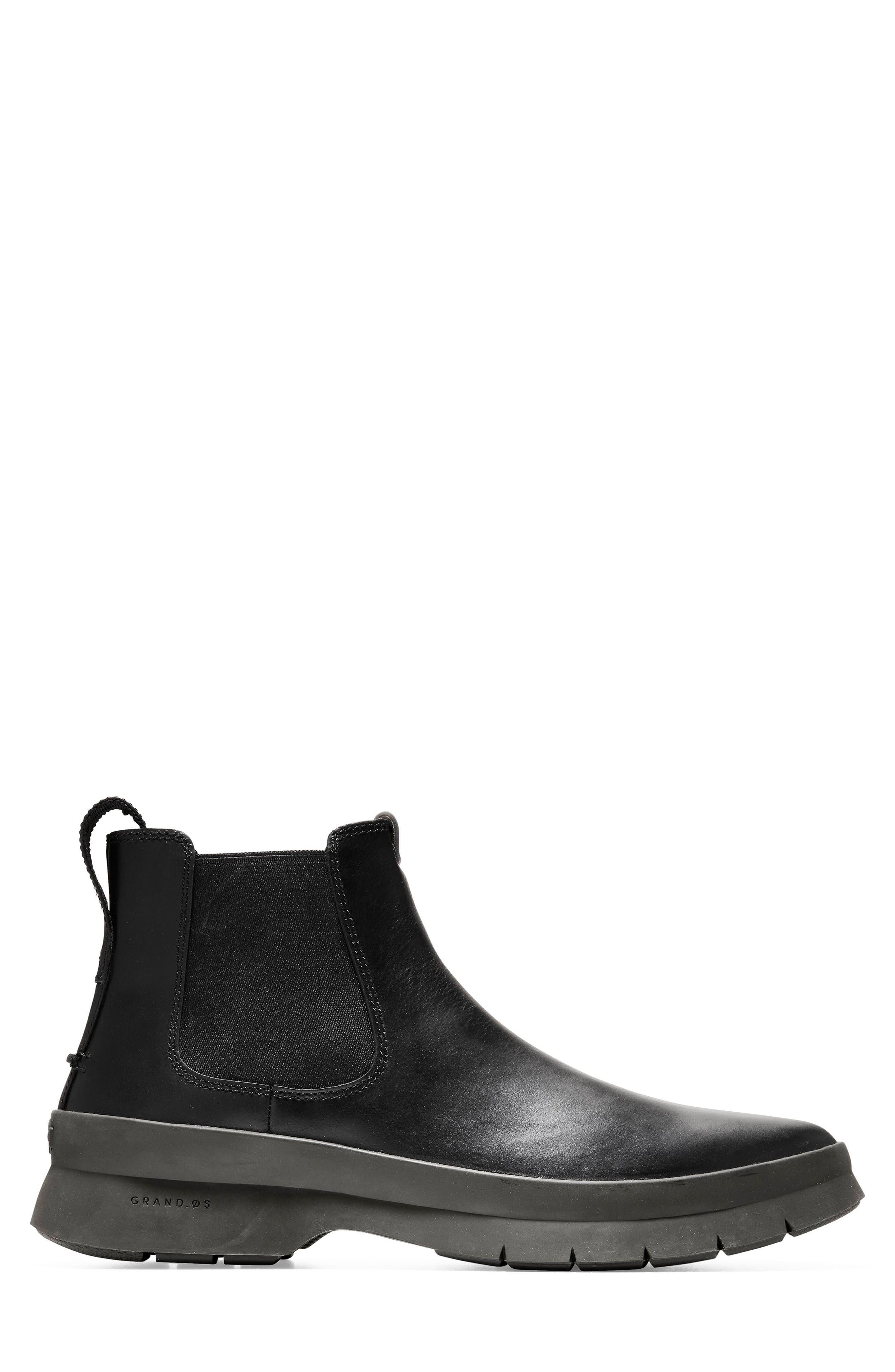Pinch Utility Waterproof Chelsea Boot,                             Alternate thumbnail 3, color,                             BLACK/ HAZEL LEATHER
