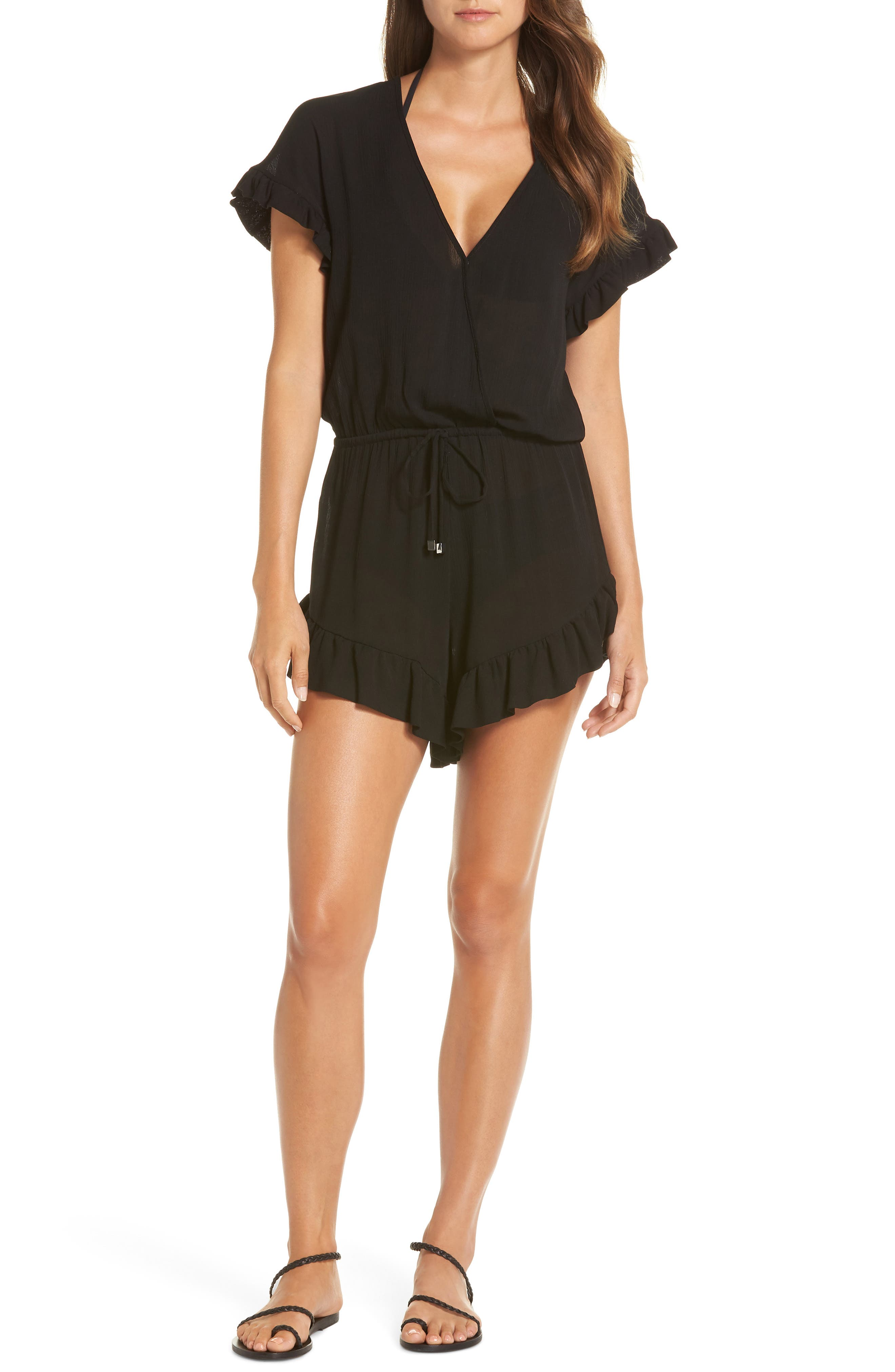Ruffle Sleeve Cover-Up Romper, Main, color, BLACK