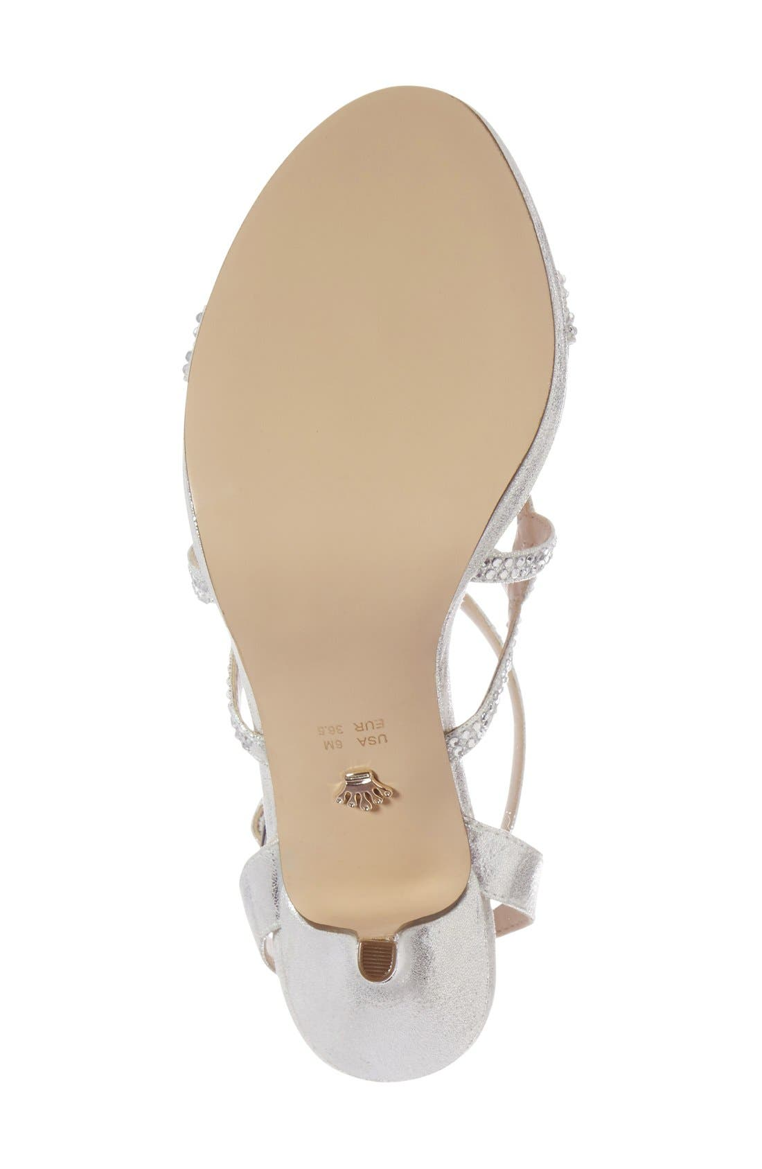 Varsha Crystal Embellished Evening Sandal,                             Alternate thumbnail 8, color,                             SILVER FAUX SUEDE