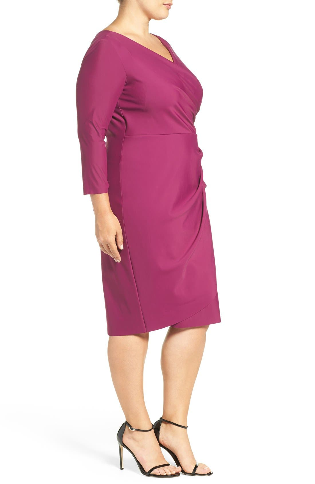 Embellished Surplice Sheath Dress,                             Alternate thumbnail 4, color,