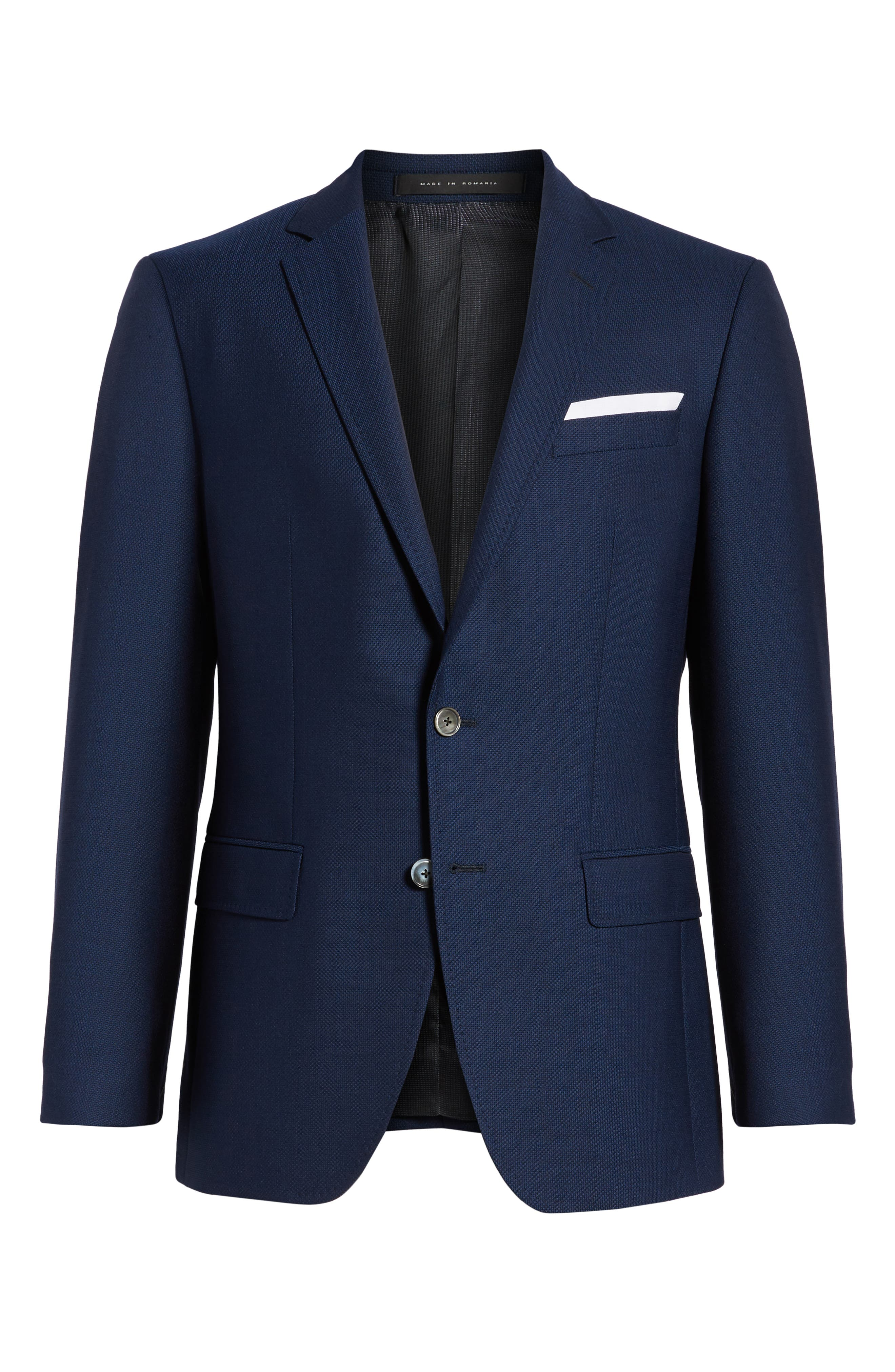 Hutsons Trim Fit Wool Blazer,                             Alternate thumbnail 5, color,                             BLUE