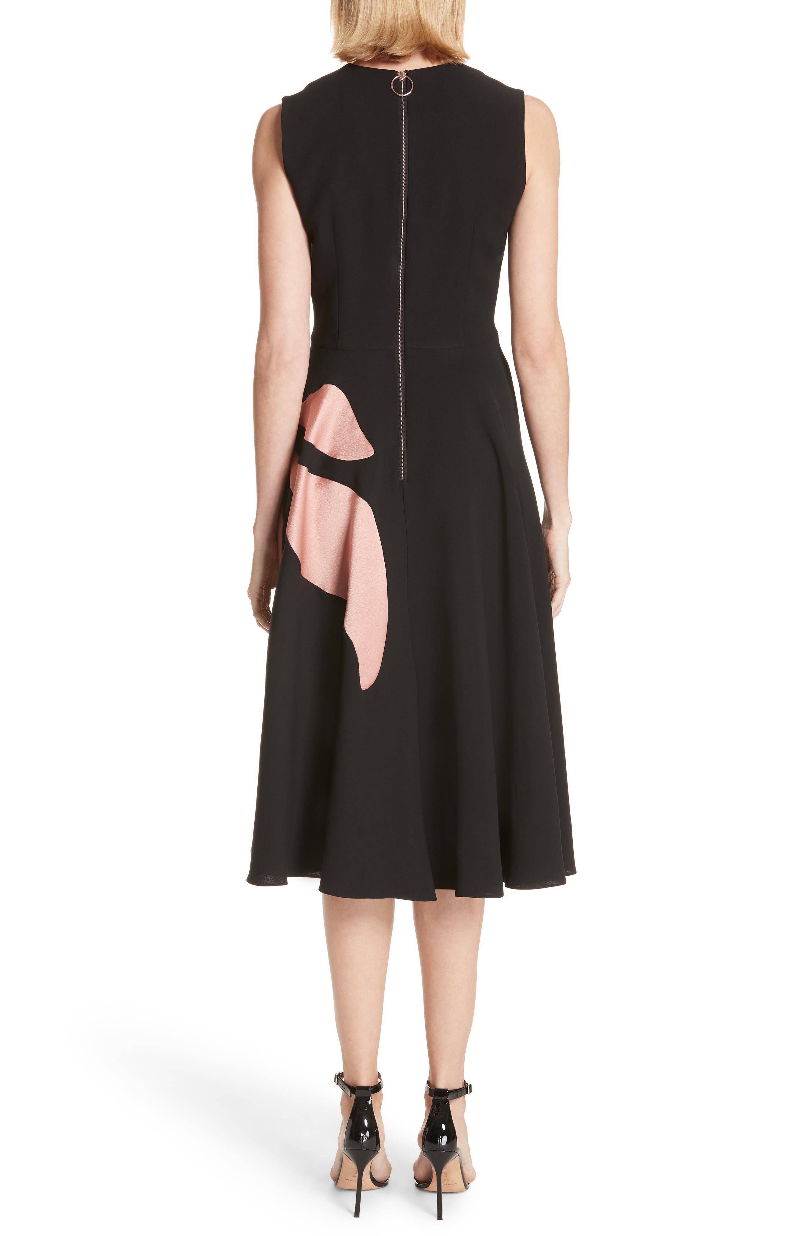 Ilia Floral Inlay Silk Blend Dress,                             Alternate thumbnail 2, color,                             001