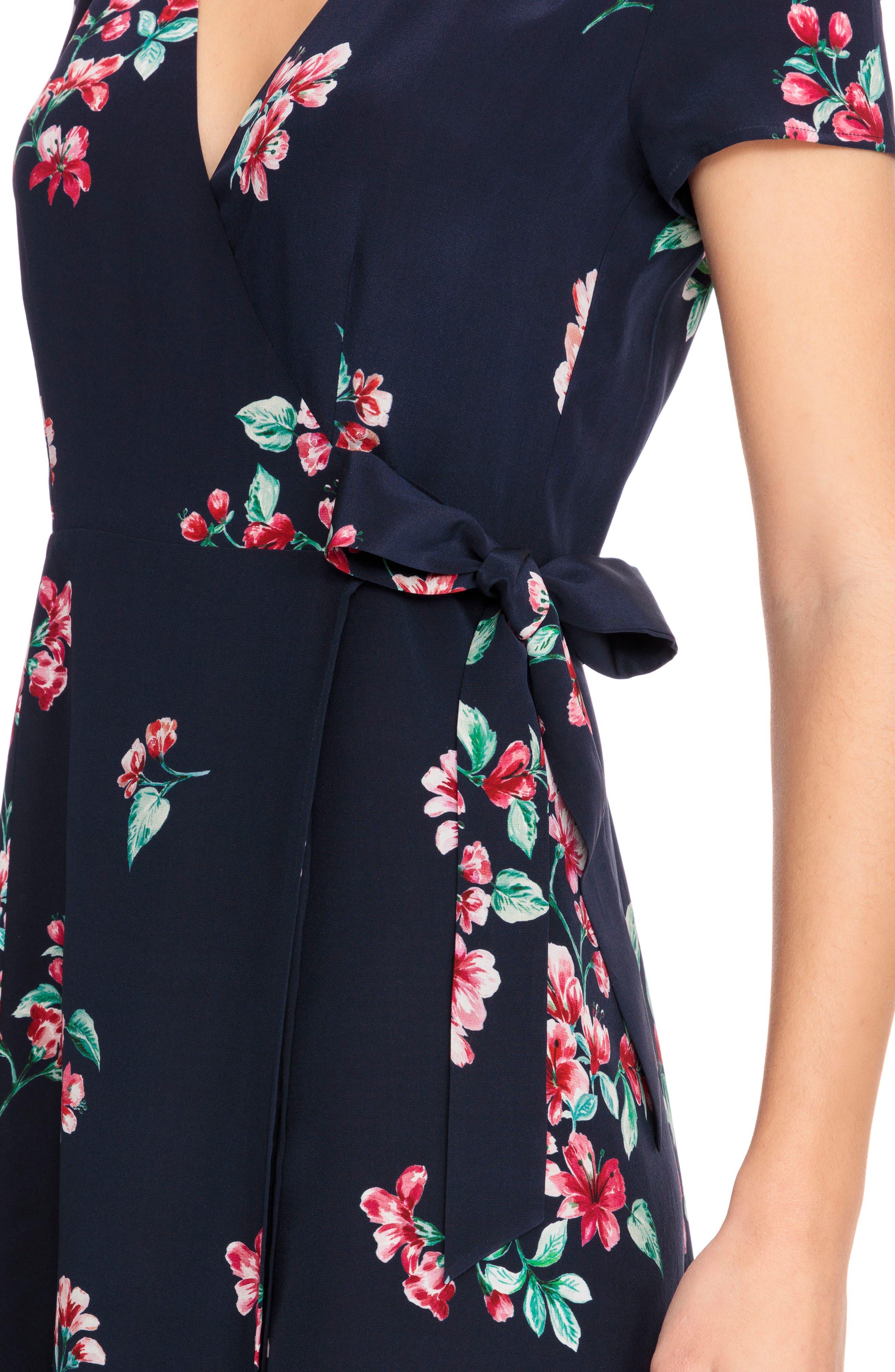 Amber Floral Silk Wrap Dress,                             Alternate thumbnail 4, color,                             400