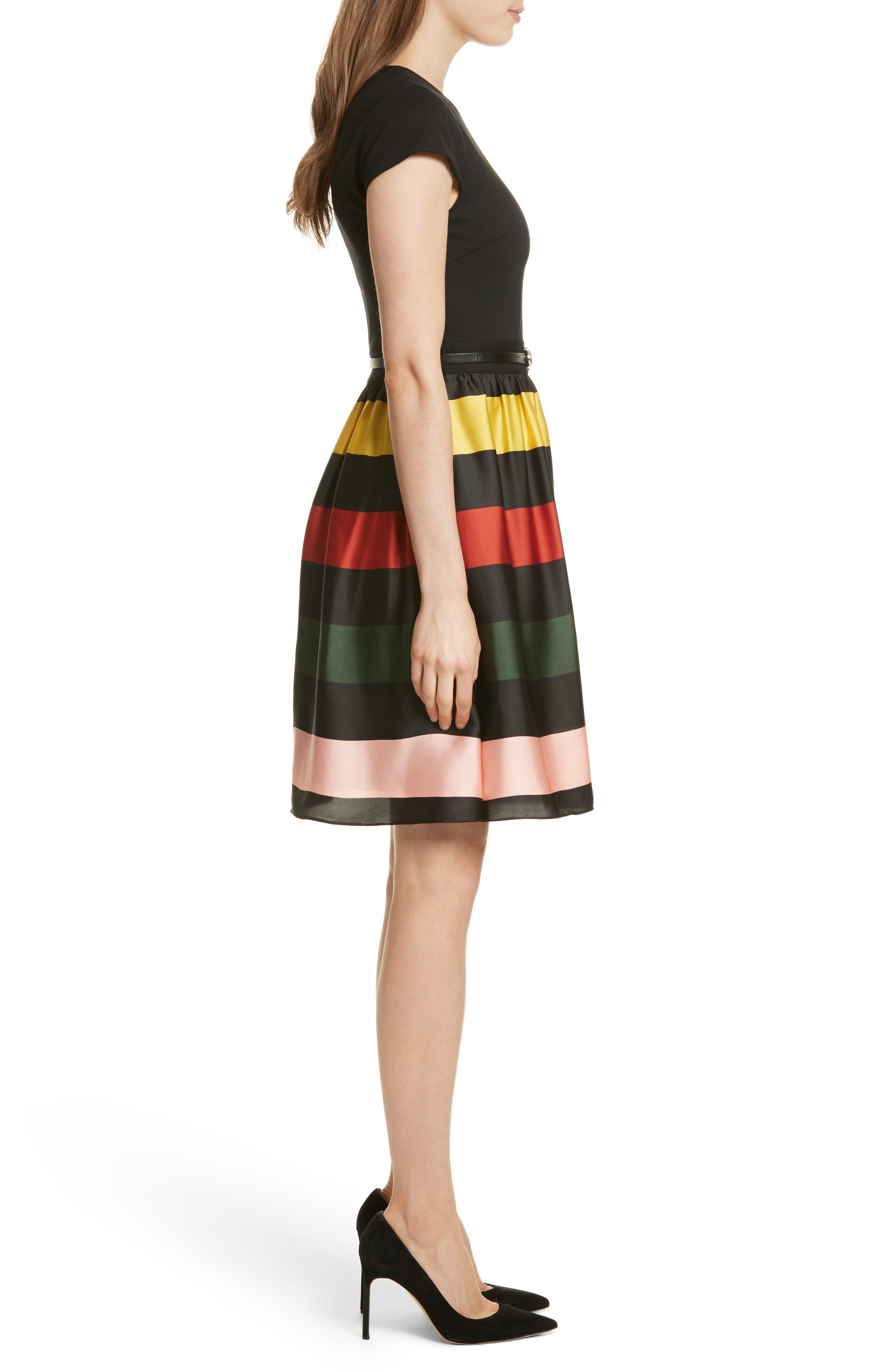 TED BAKER LONDON,                             Cruise Stripe Fit & Flare Dress,                             Alternate thumbnail 3, color,                             001