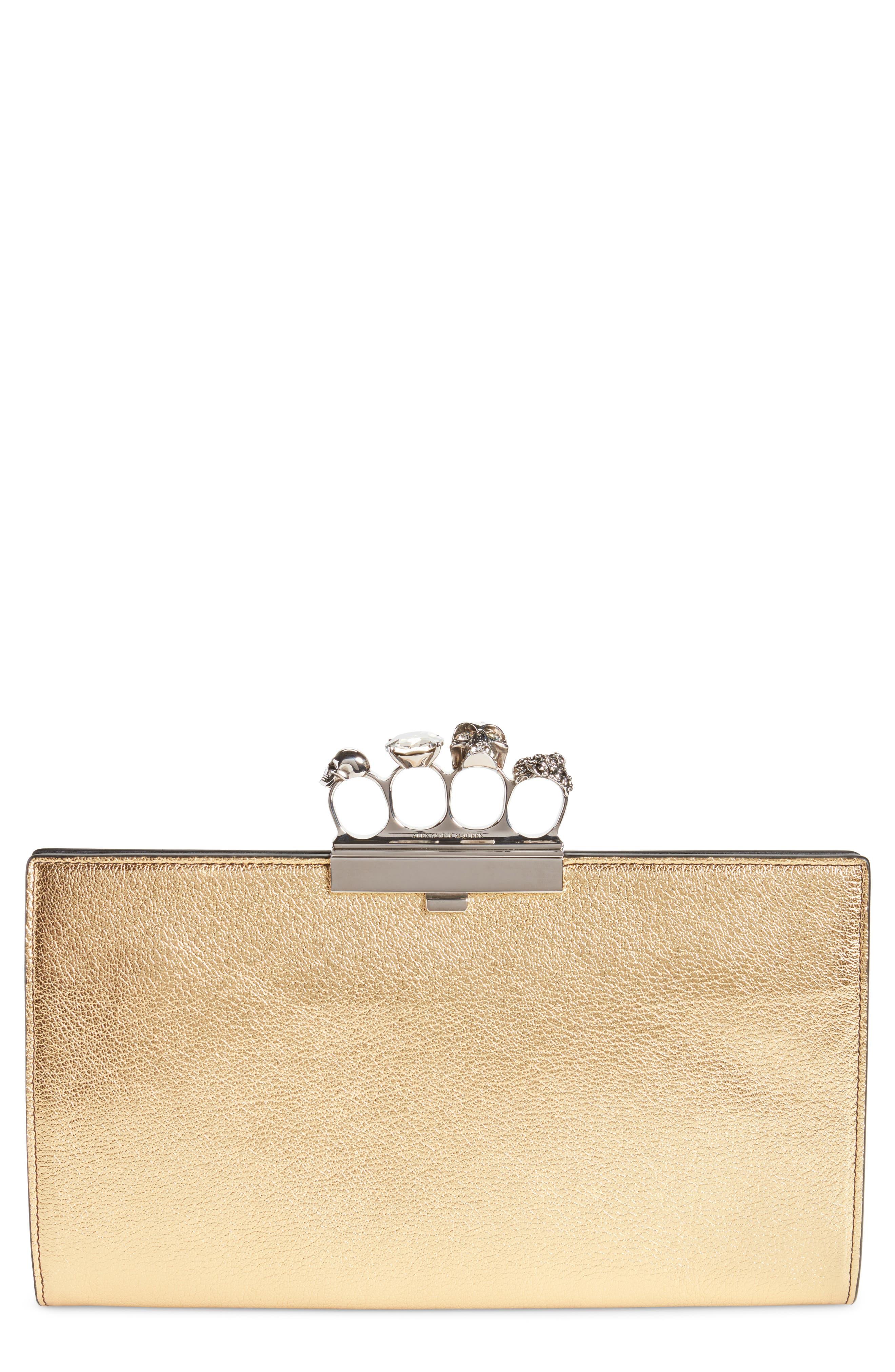Knuckle Clasp Metallic Leather Clutch,                         Main,                         color, 710