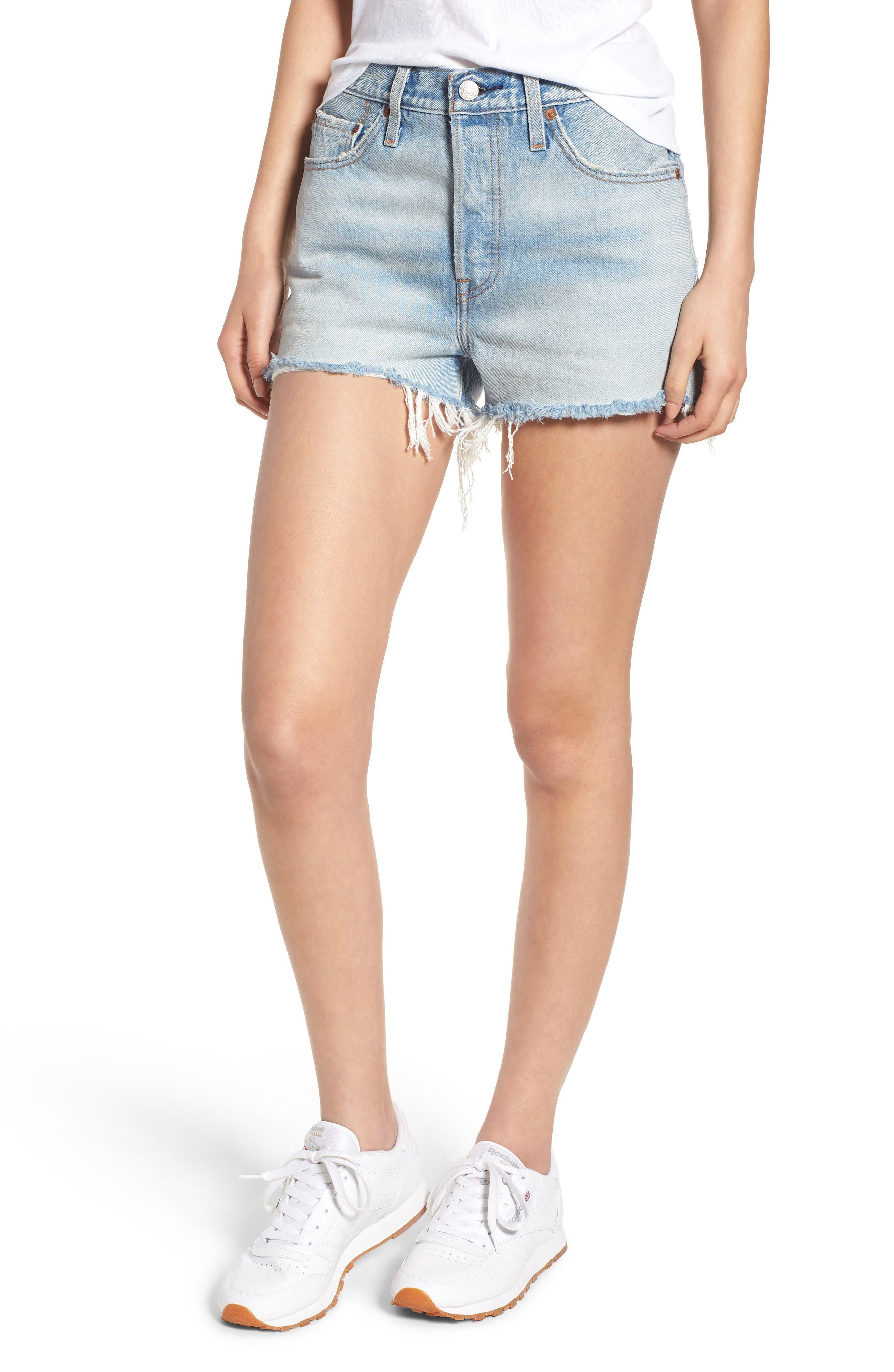 501<sup>®</sup> High Waist Denim Shorts,                         Main,                         color, 451