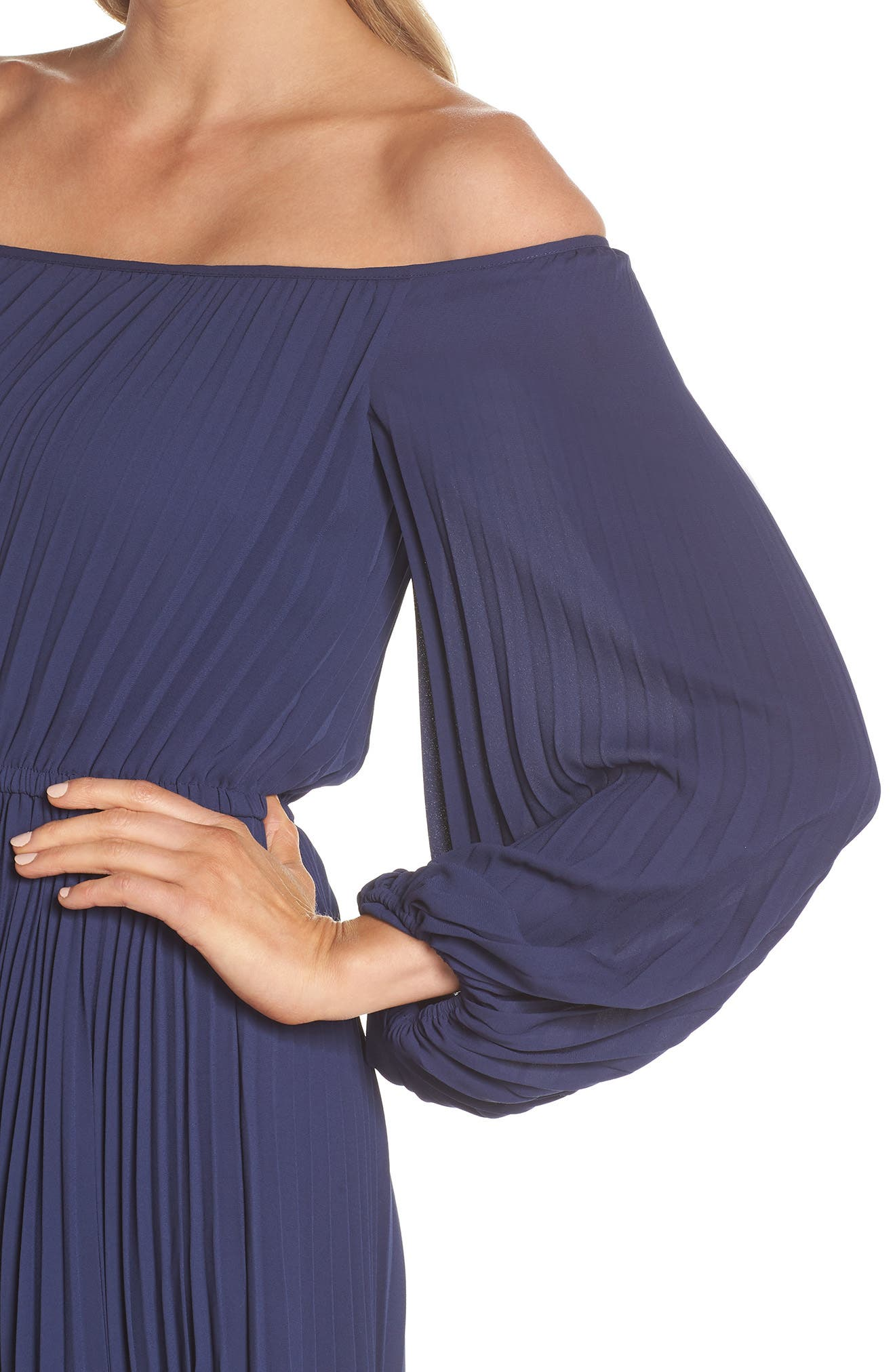 Elise Off the Shoulder Pleated Georgette Dress,                             Alternate thumbnail 4, color,                             NAVY W/ SELF PIPING