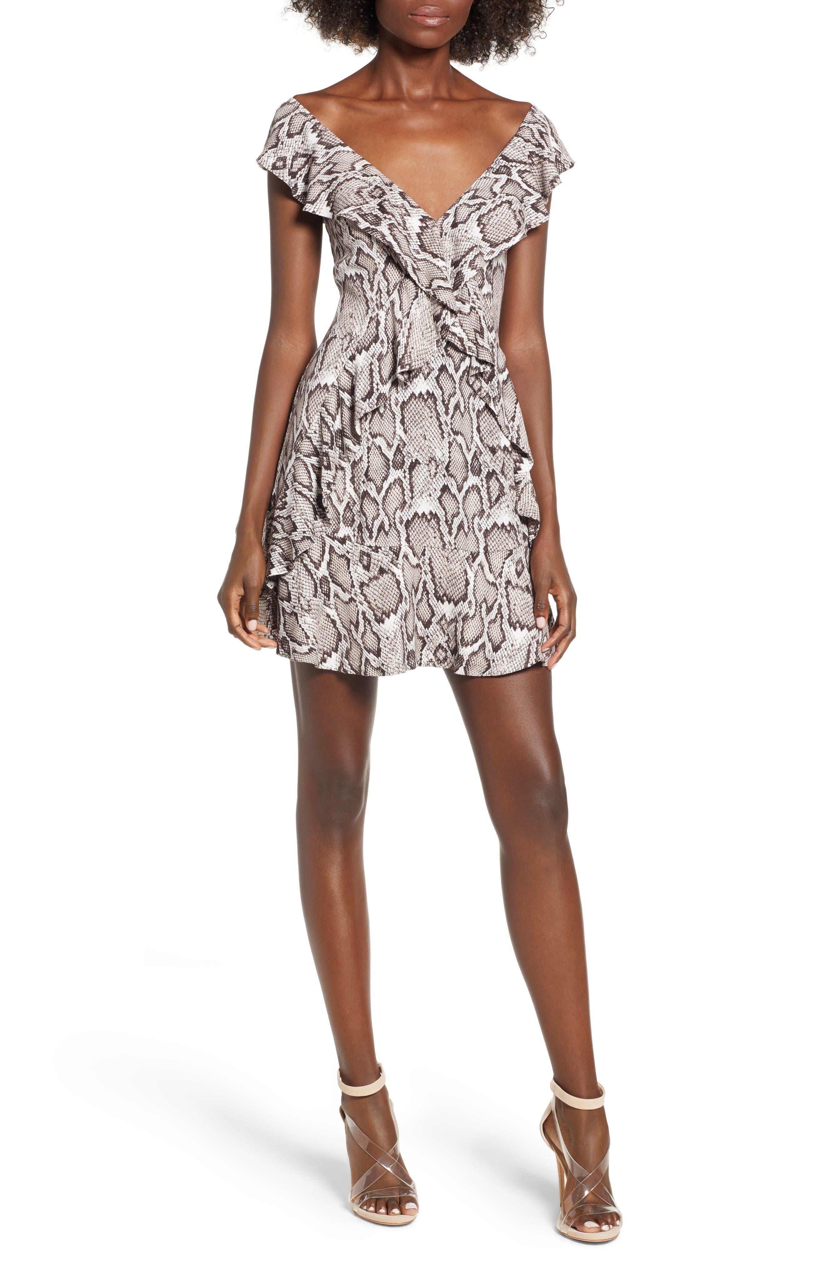 Wren Ruffle Minidress,                         Main,                         color, SNAKESKIN