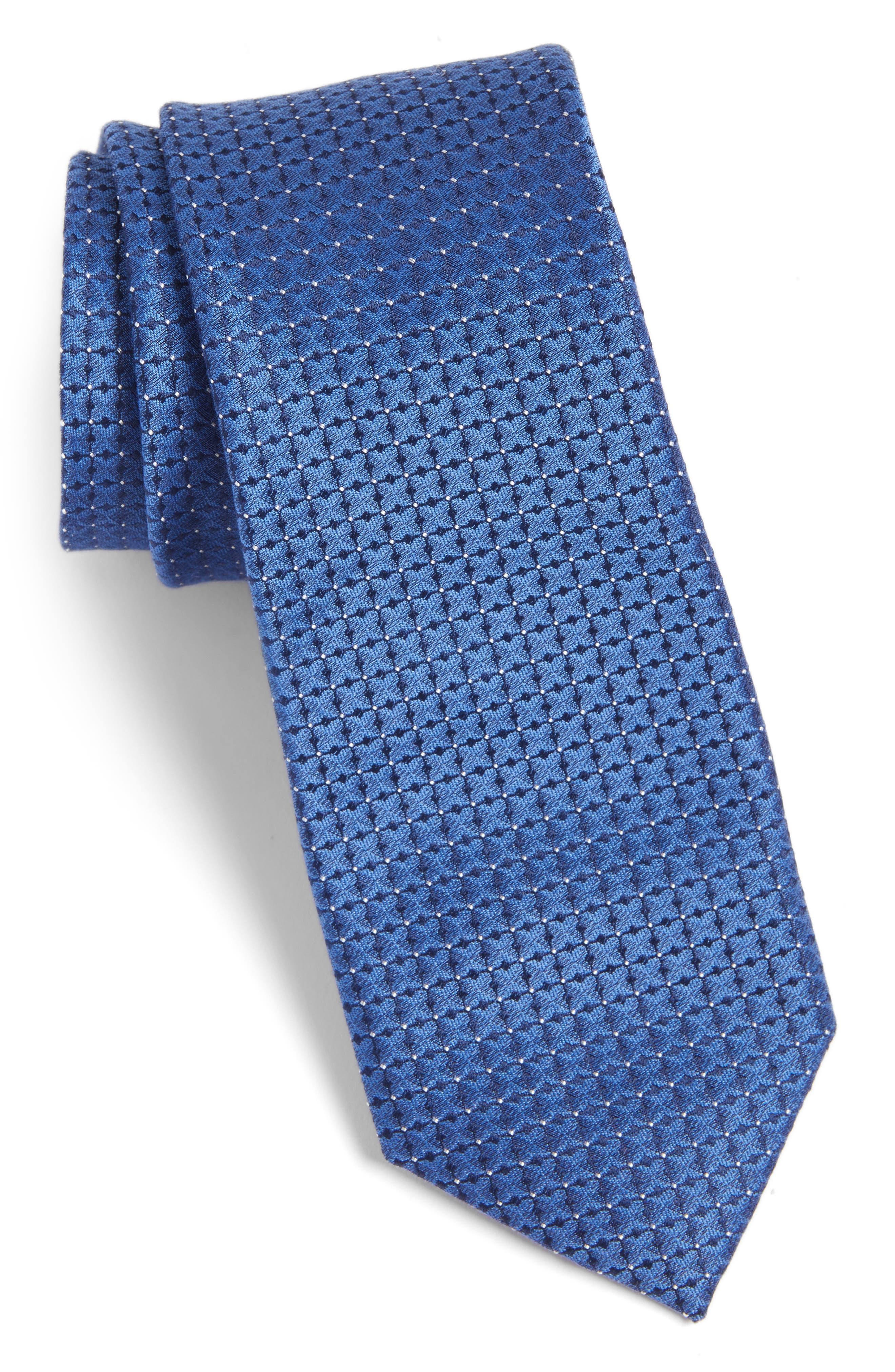 Gower Check Cotton & Silk Tie,                         Main,                         color, 400
