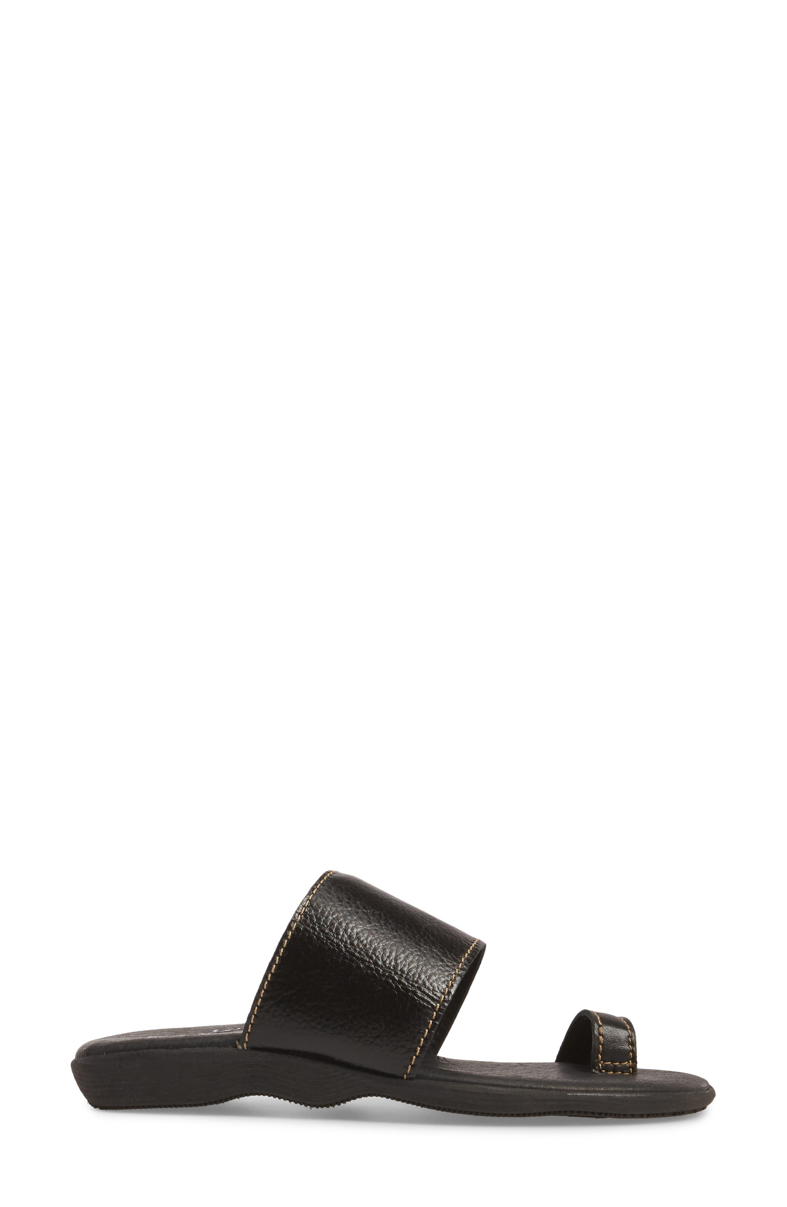 Band & Deliver Toe Loop Slide Sandal,                             Alternate thumbnail 3, color,                             COAL LEATHER