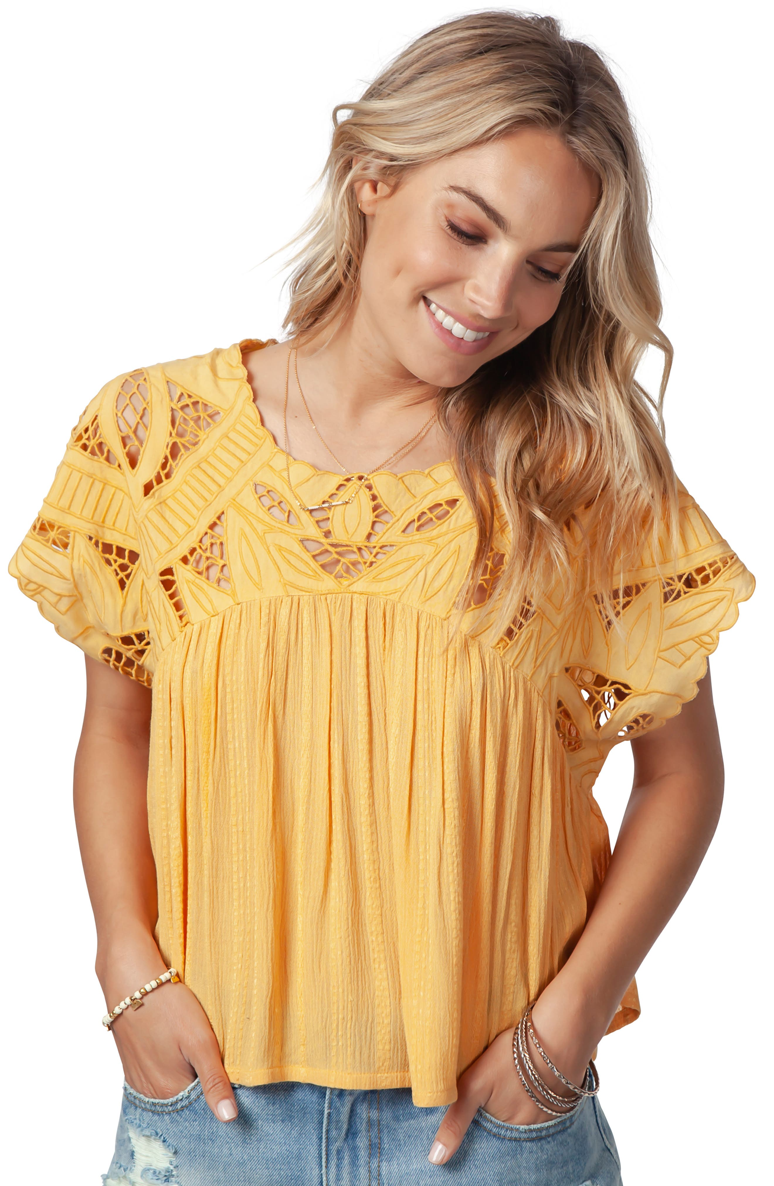 Seaview Cutwork Top,                             Alternate thumbnail 3, color,                             GOLD