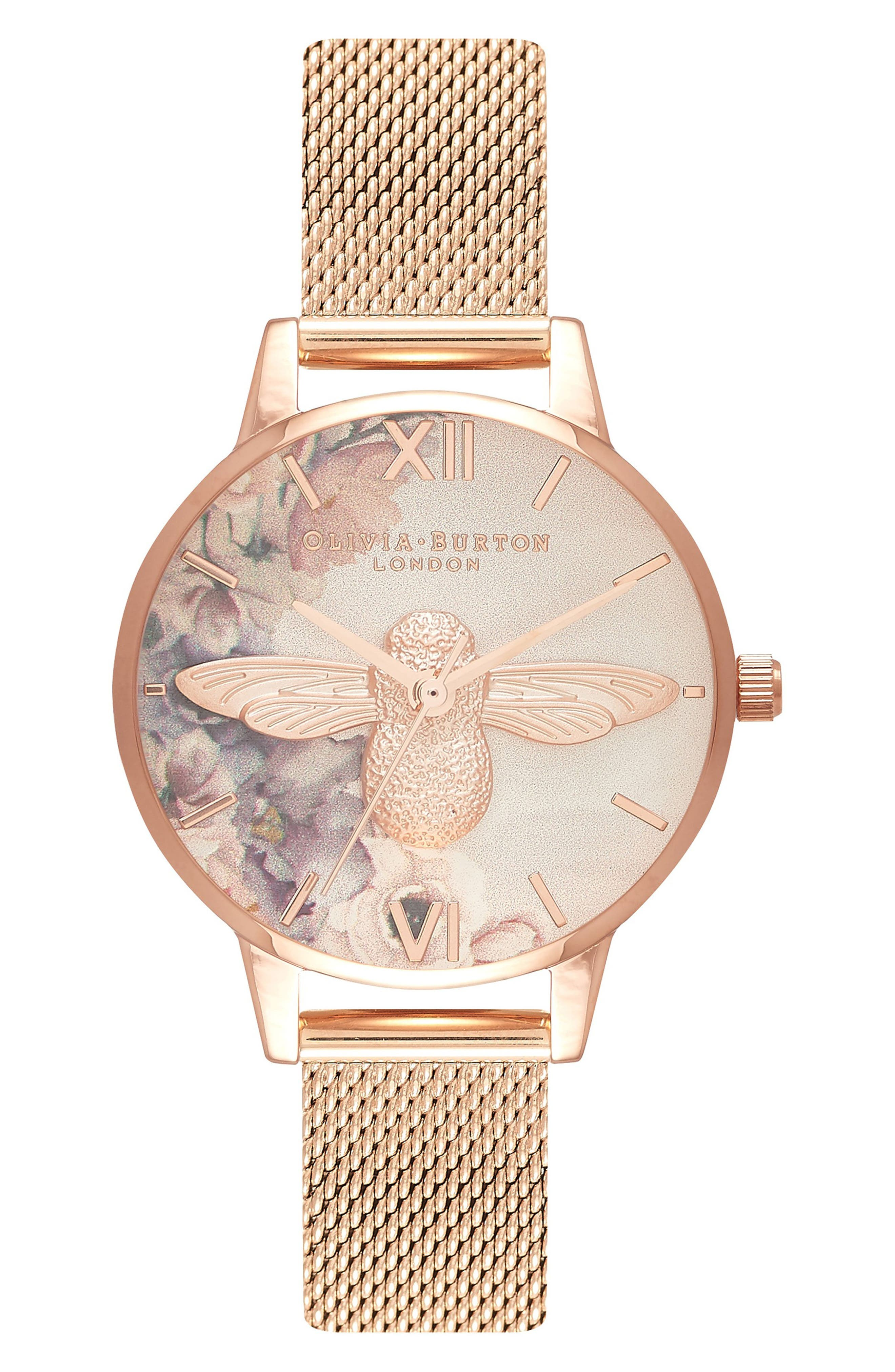 Watercolor Floral Mesh Strap Watch, 30mm,                             Main thumbnail 1, color,                             ROSE GOLD/ BEE/ ROSE GOLD