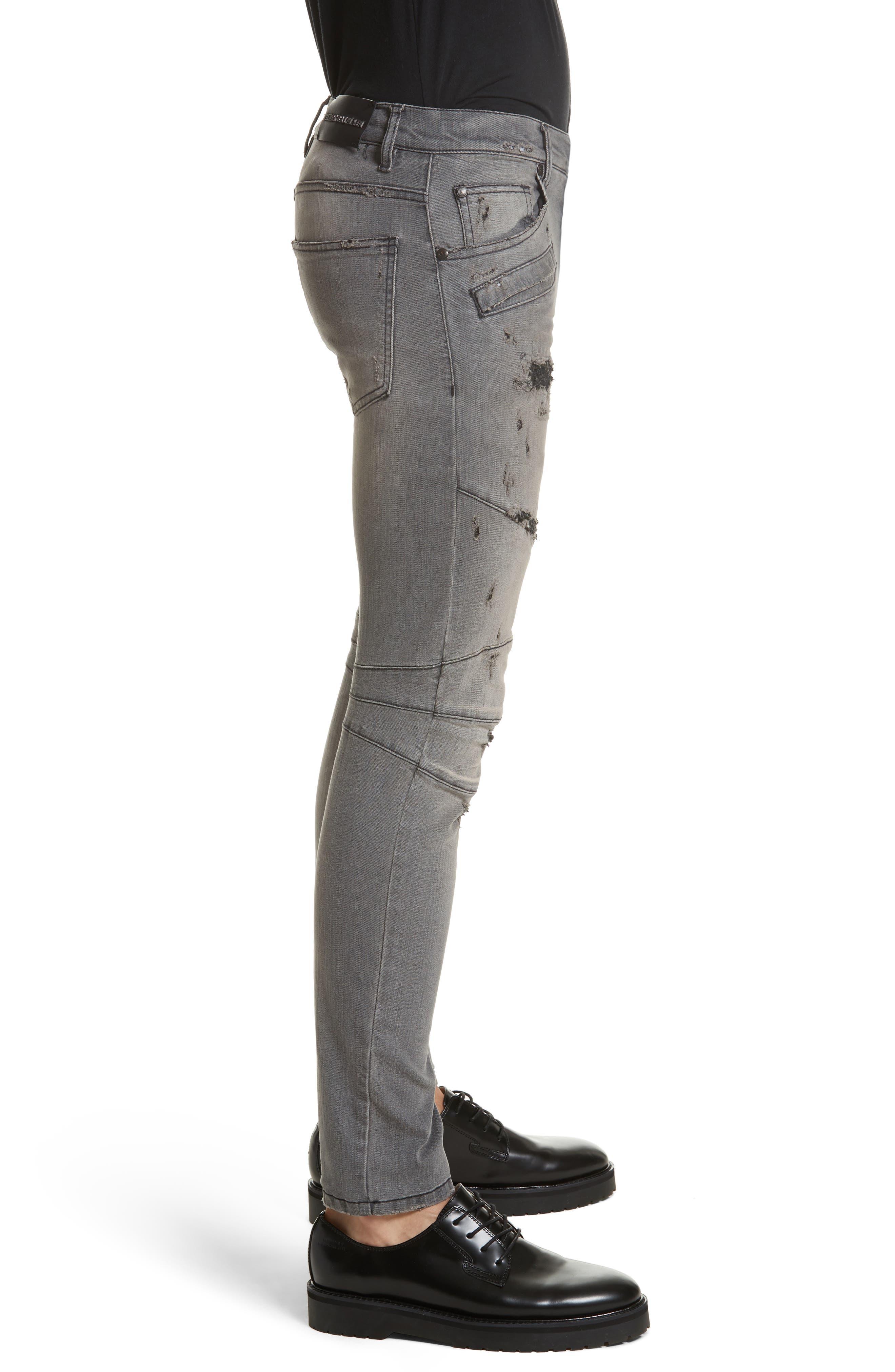 Distressed Moto Jeans,                             Alternate thumbnail 4, color,
