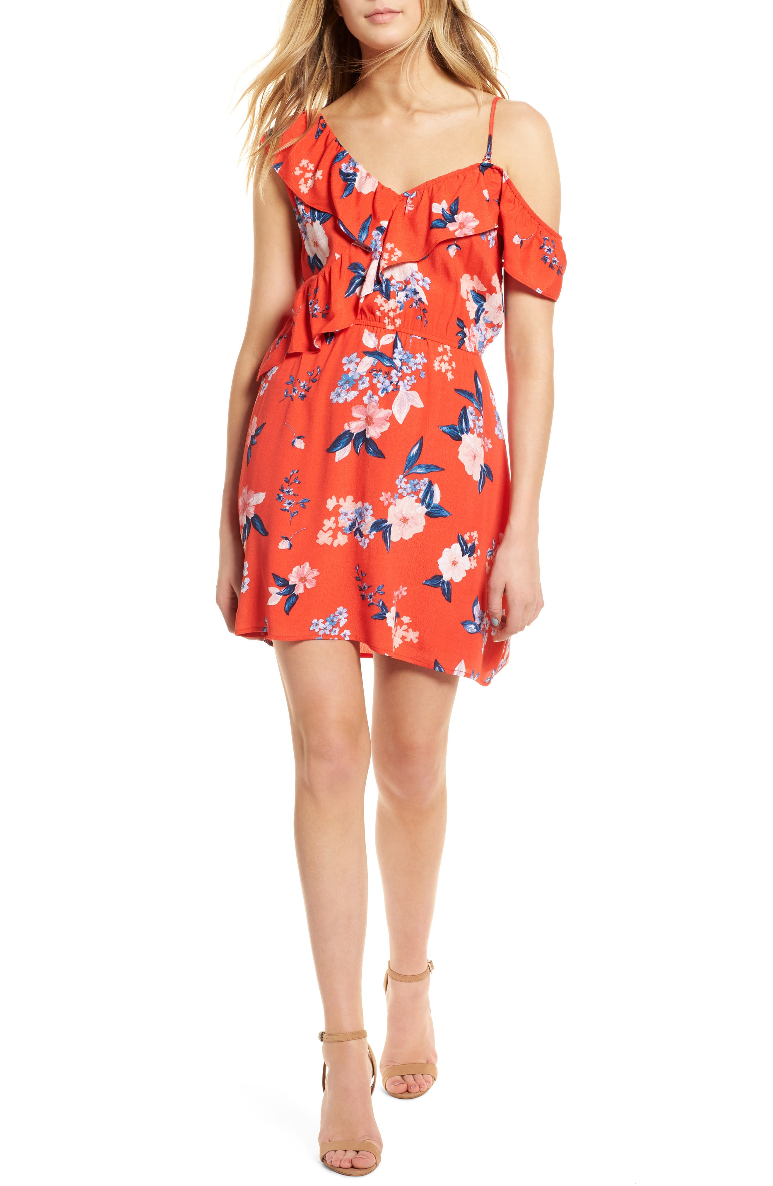 Cordetta Floral Asymmetrical Ruffle Dress,                             Main thumbnail 1, color,                             POPPY RED