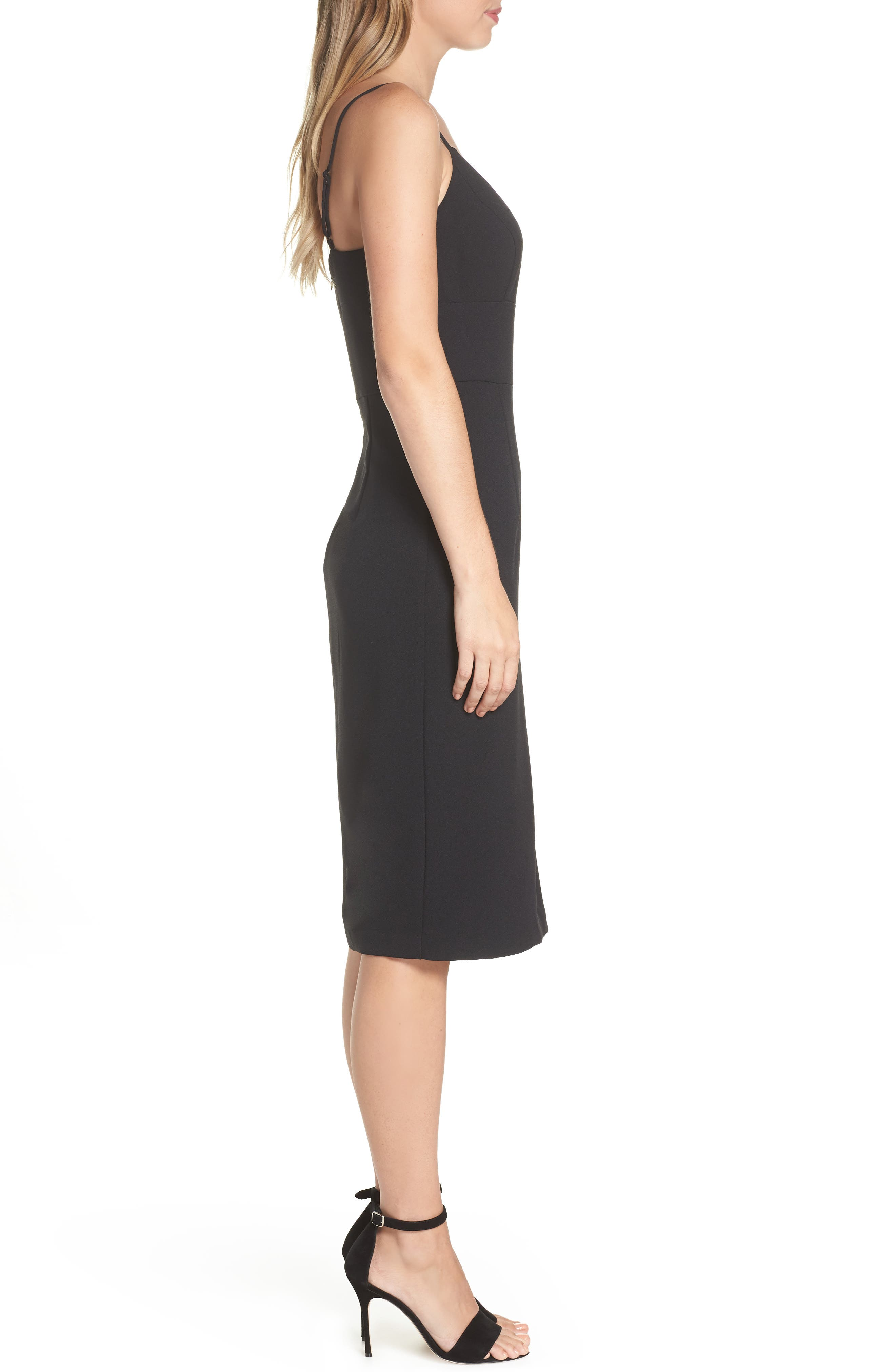 Sleeveless Cocktail Dress,                             Alternate thumbnail 3, color,                             BLACK