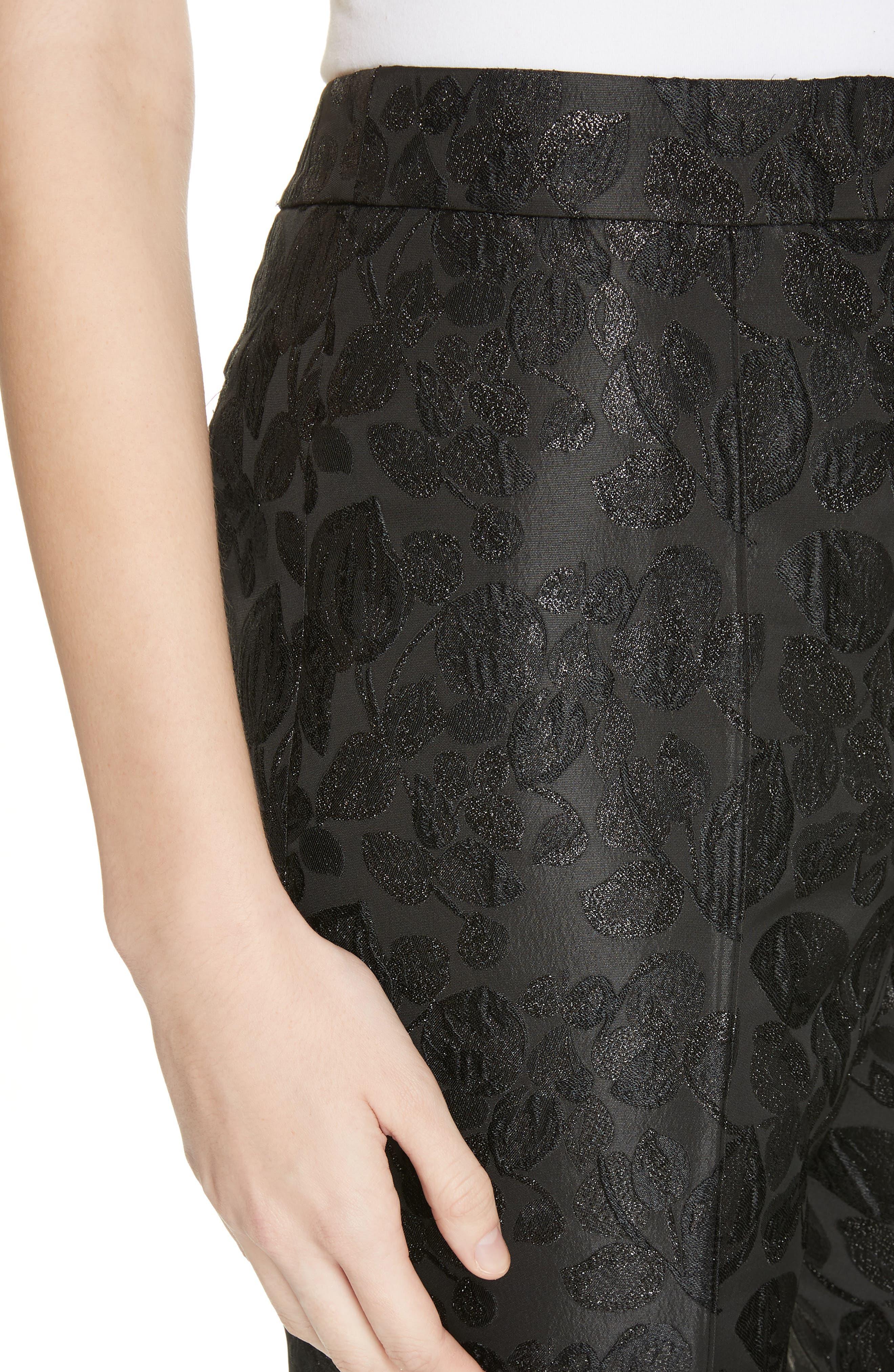 metallic tonal jacquard flare pants,                             Alternate thumbnail 4, color,                             BLACK