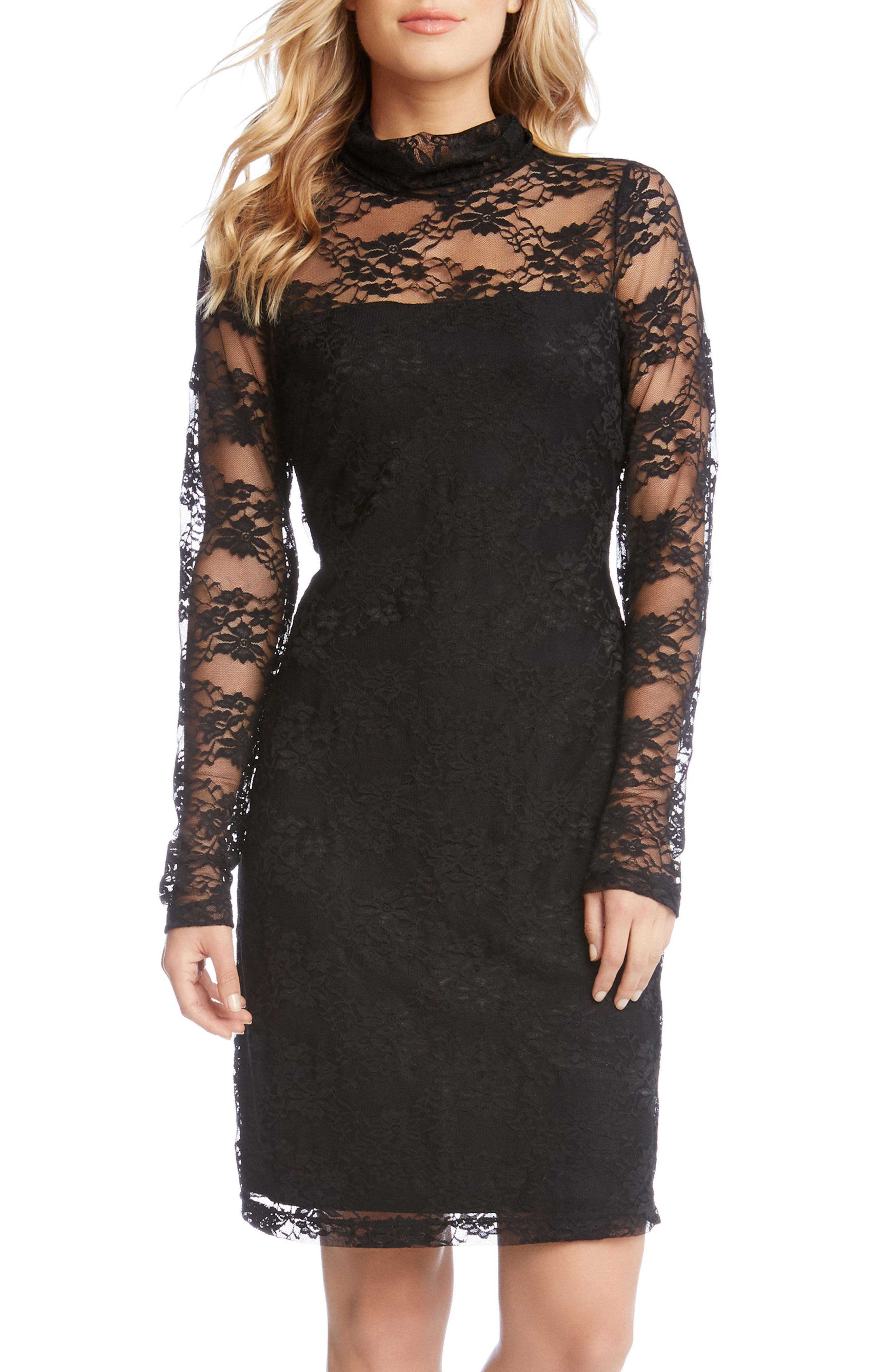 Turtleneck Lace Sheath Dress,                             Alternate thumbnail 3, color,                             001