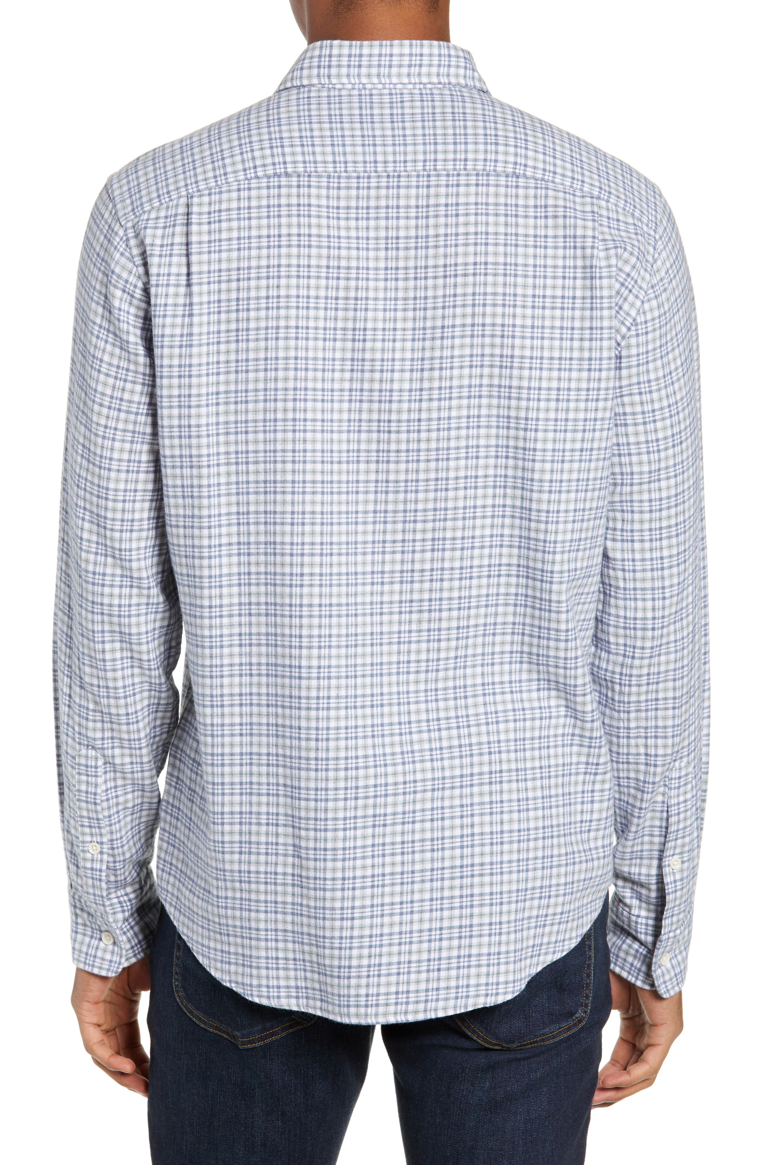 Ventura Regular Fit Plaid Sport Shirt,                             Alternate thumbnail 3, color,                             HEATHER GREY MULTI