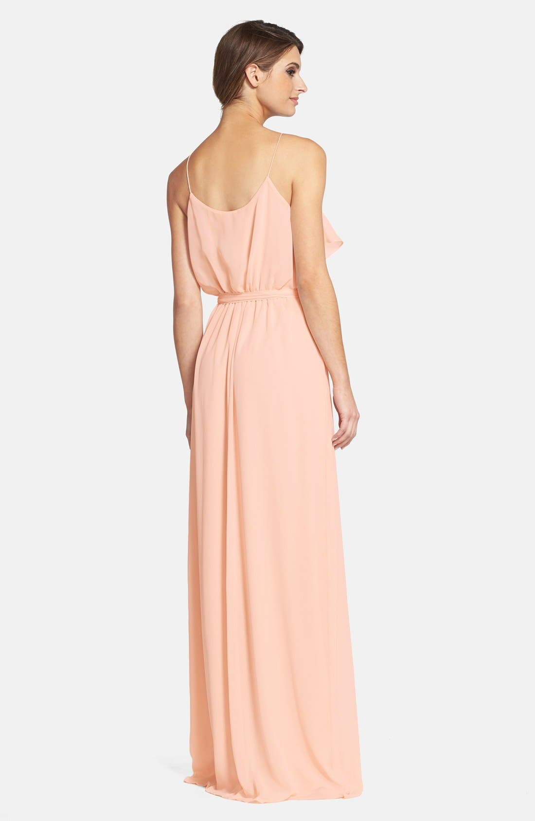 'Drew' Ruffle Front Chiffon Gown,                             Alternate thumbnail 32, color,