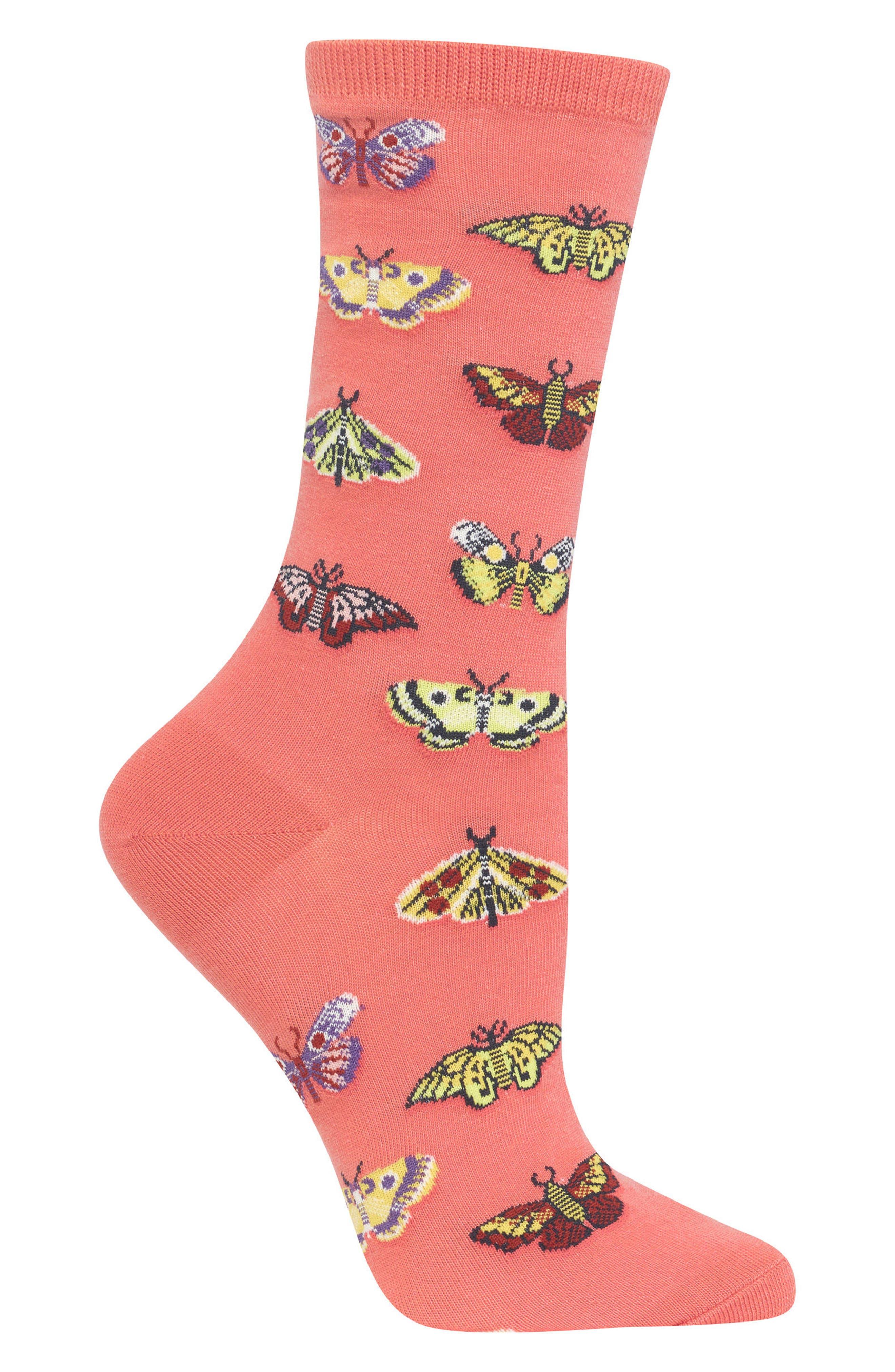 Butterflies Crew Socks,                             Alternate thumbnail 4, color,
