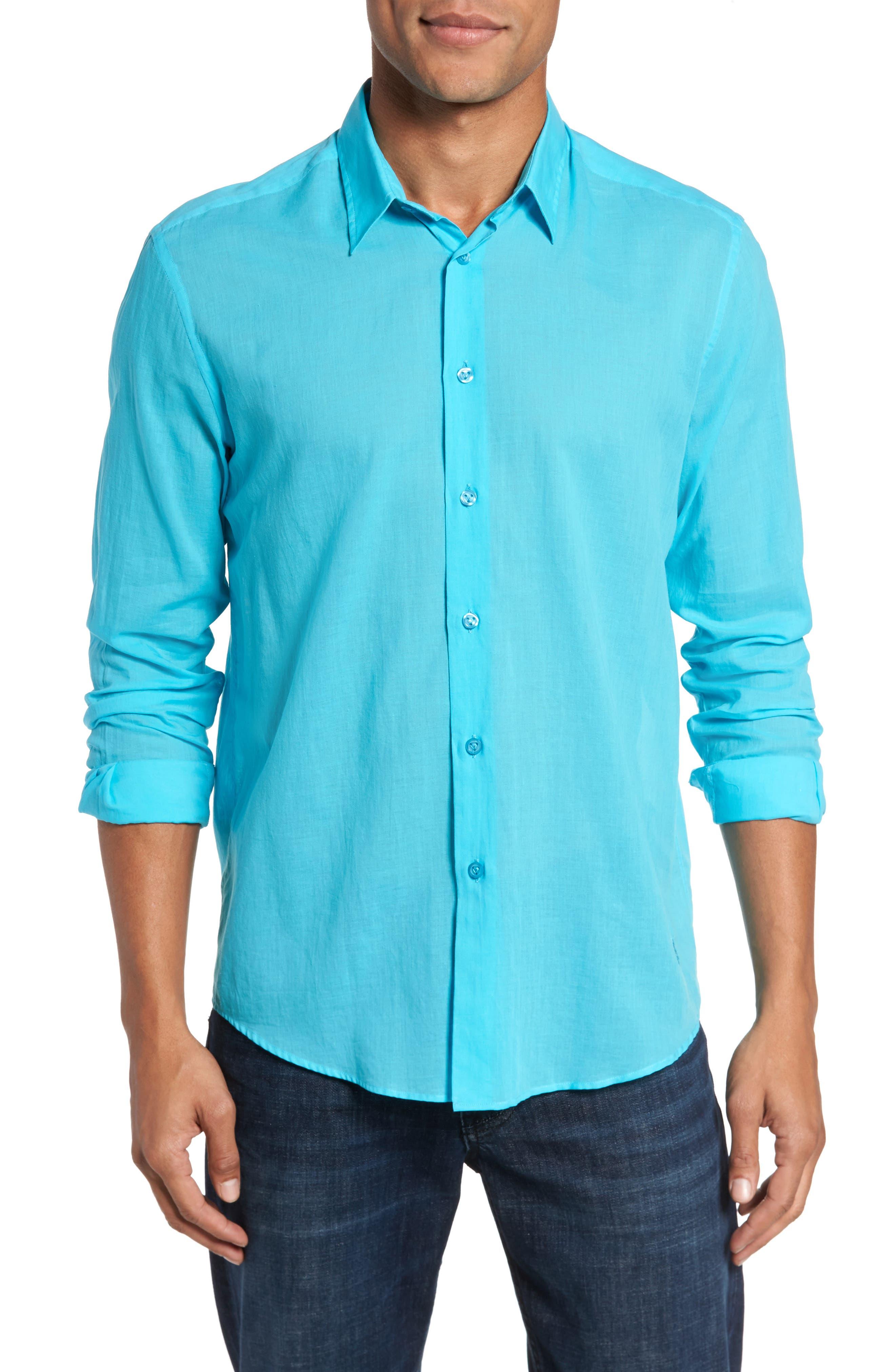 Voile Sport Shirt,                         Main,                         color, AZURE
