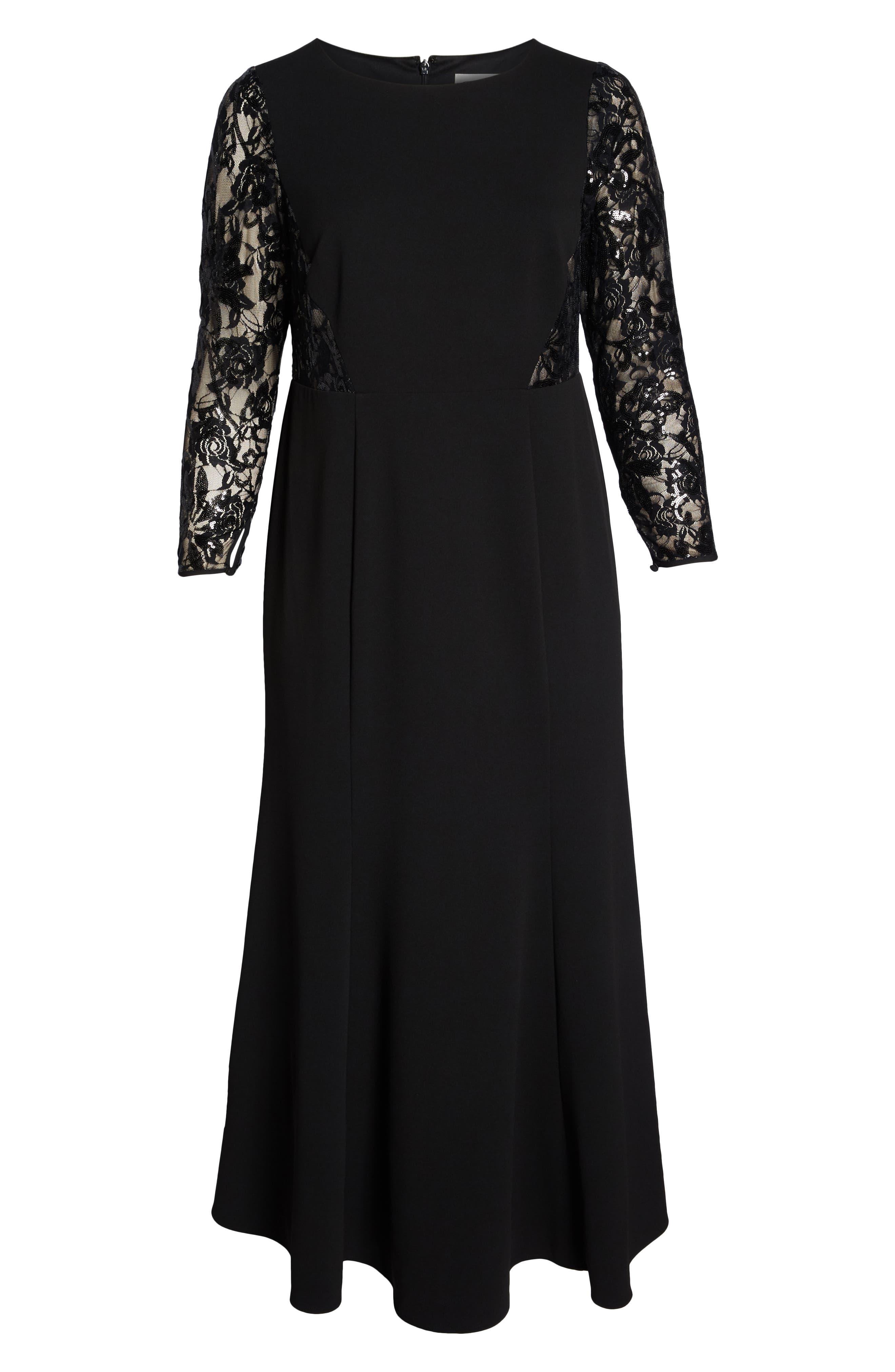 Lace Inset Gown,                             Alternate thumbnail 7, color,                             001
