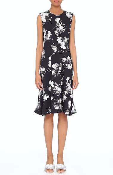 Floral Print Flounce Hem Cady Dress, video thumbnail
