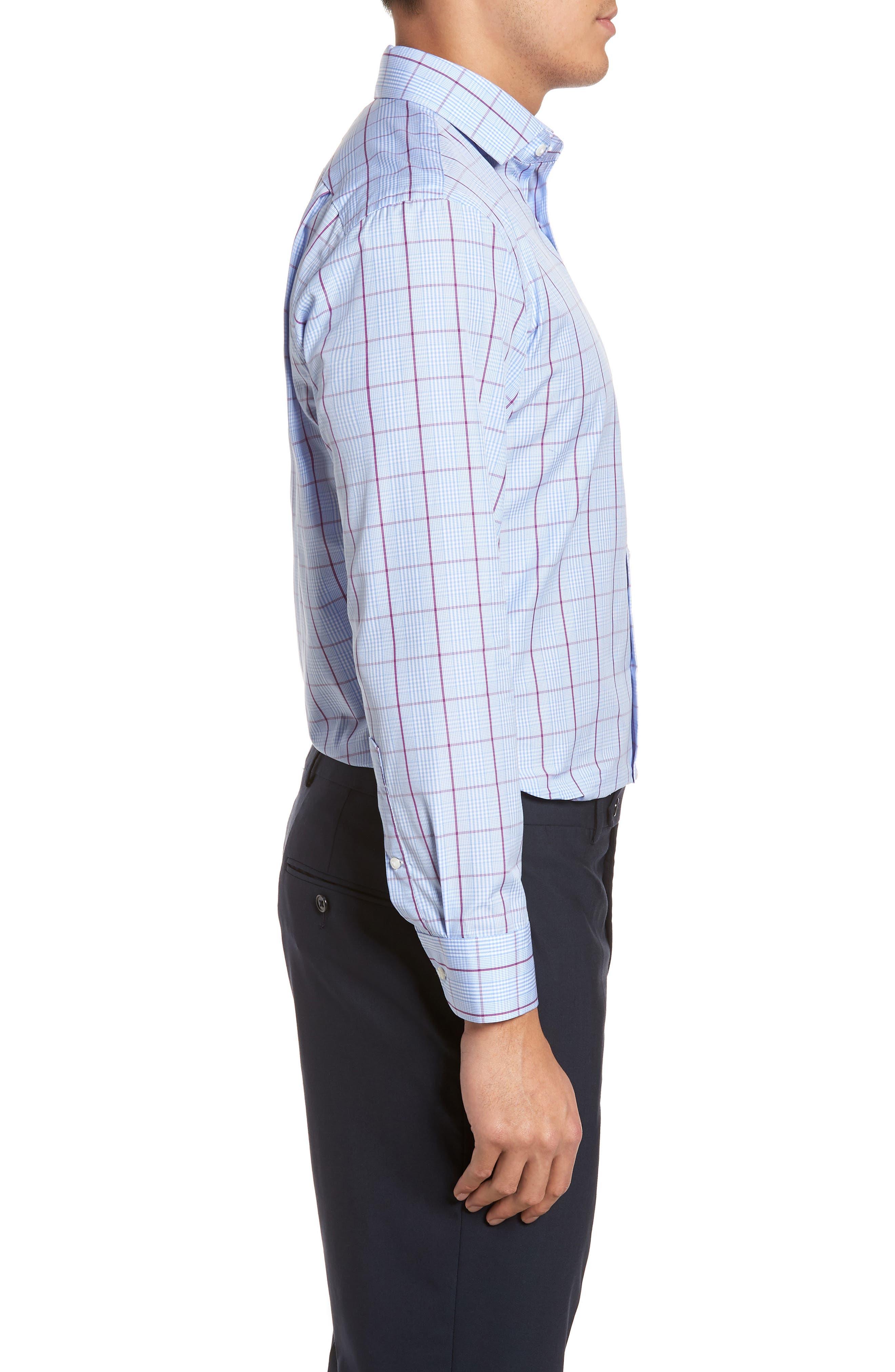 Trim Fit Plaid Dress Shirt,                             Alternate thumbnail 4, color,                             530