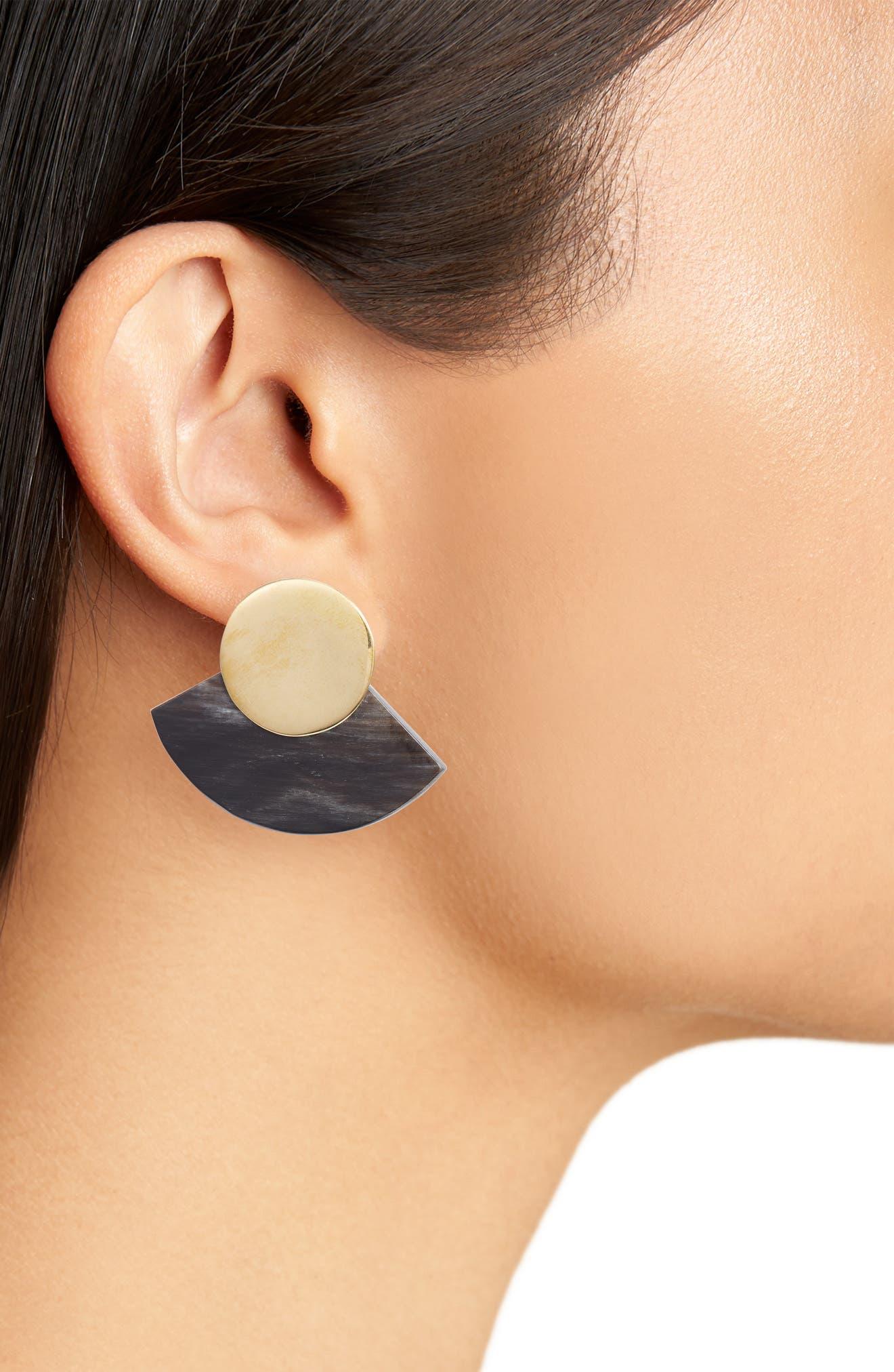 Horn Paddle Stud Earrings,                             Alternate thumbnail 3, color,