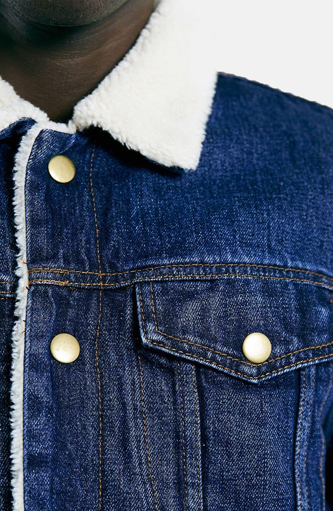 TOPMAN,                             Faux Fur Lined Denim Jacket,                             Alternate thumbnail 3, color,                             400