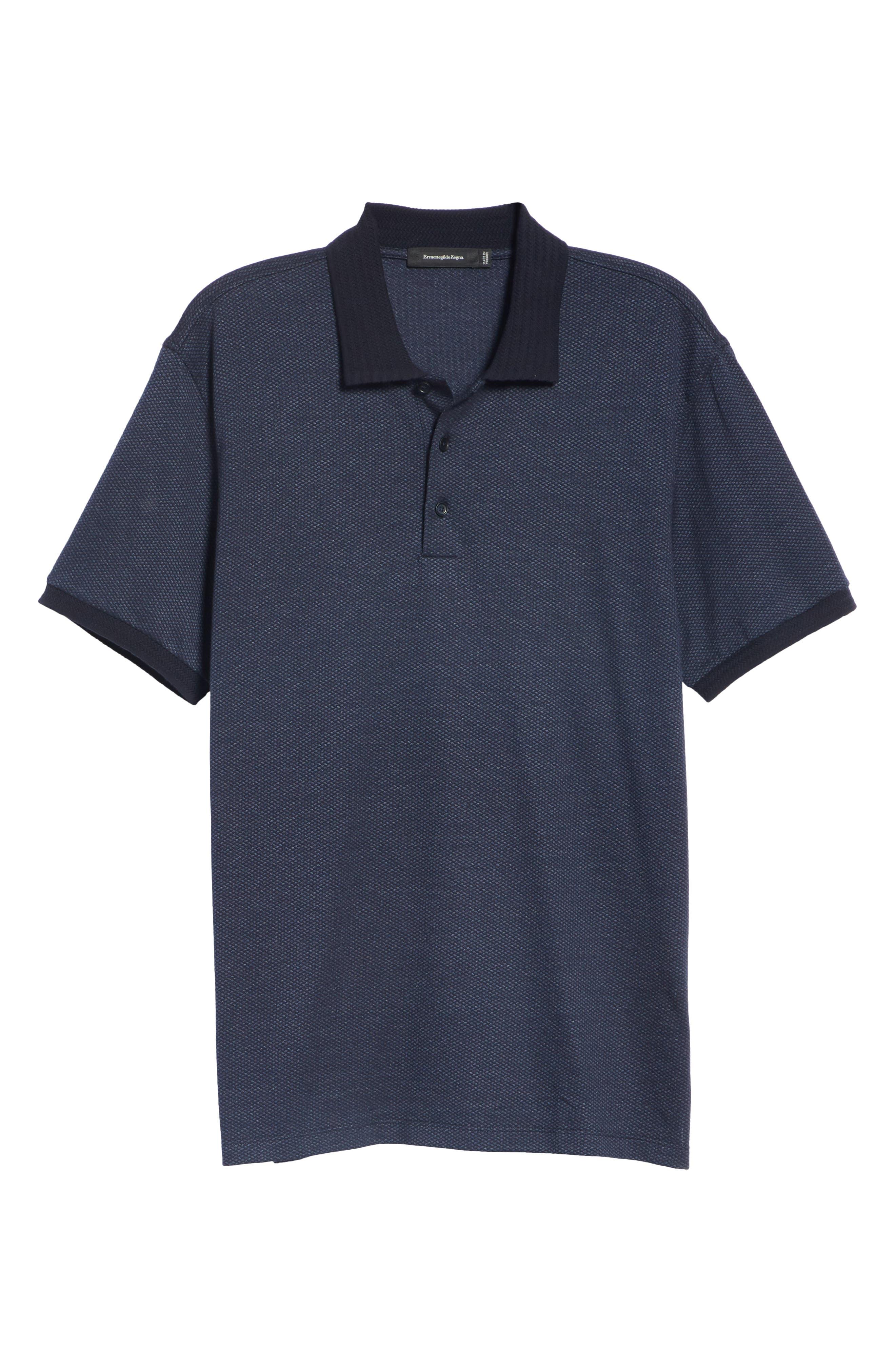 Cotton & Silk Polo Shirt,                             Alternate thumbnail 6, color,                             NAVY