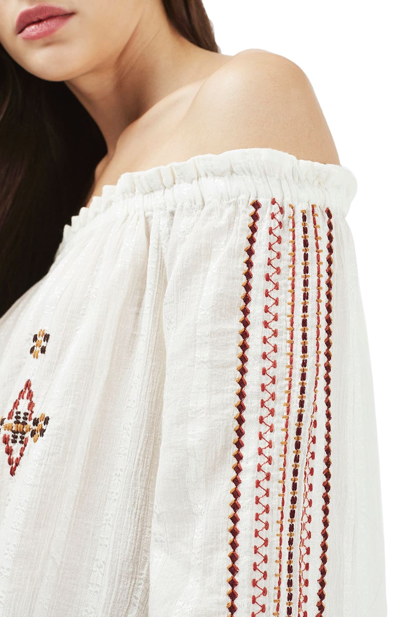 Bardot Embroidered Top,                             Alternate thumbnail 3, color,                             900